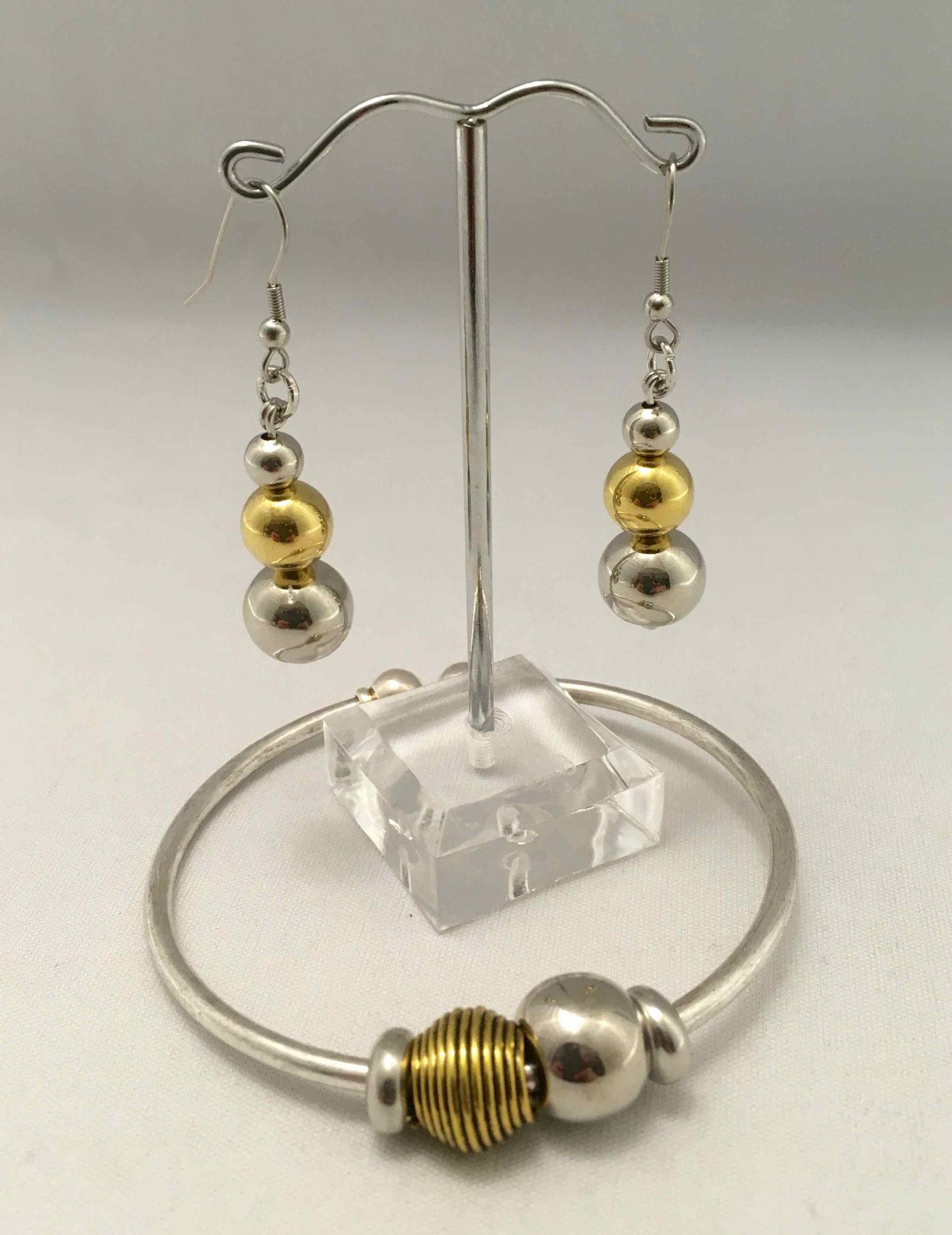 Chagoë, bracelet et BO   ,  Collection DORE  2017