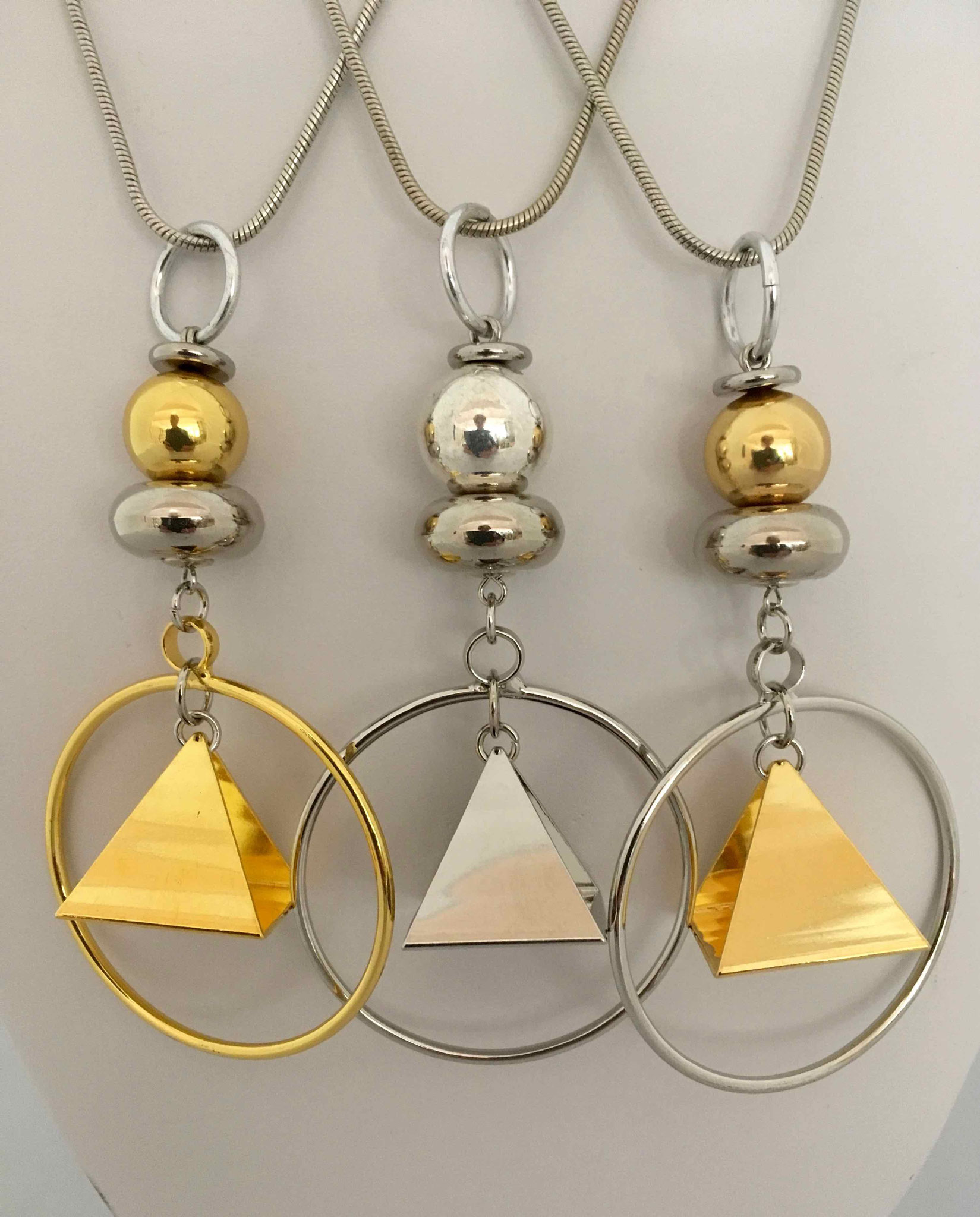 Chagoë, Colliers 2 en 1  PYRAMIDALE , Collection DORE & METAL  2017