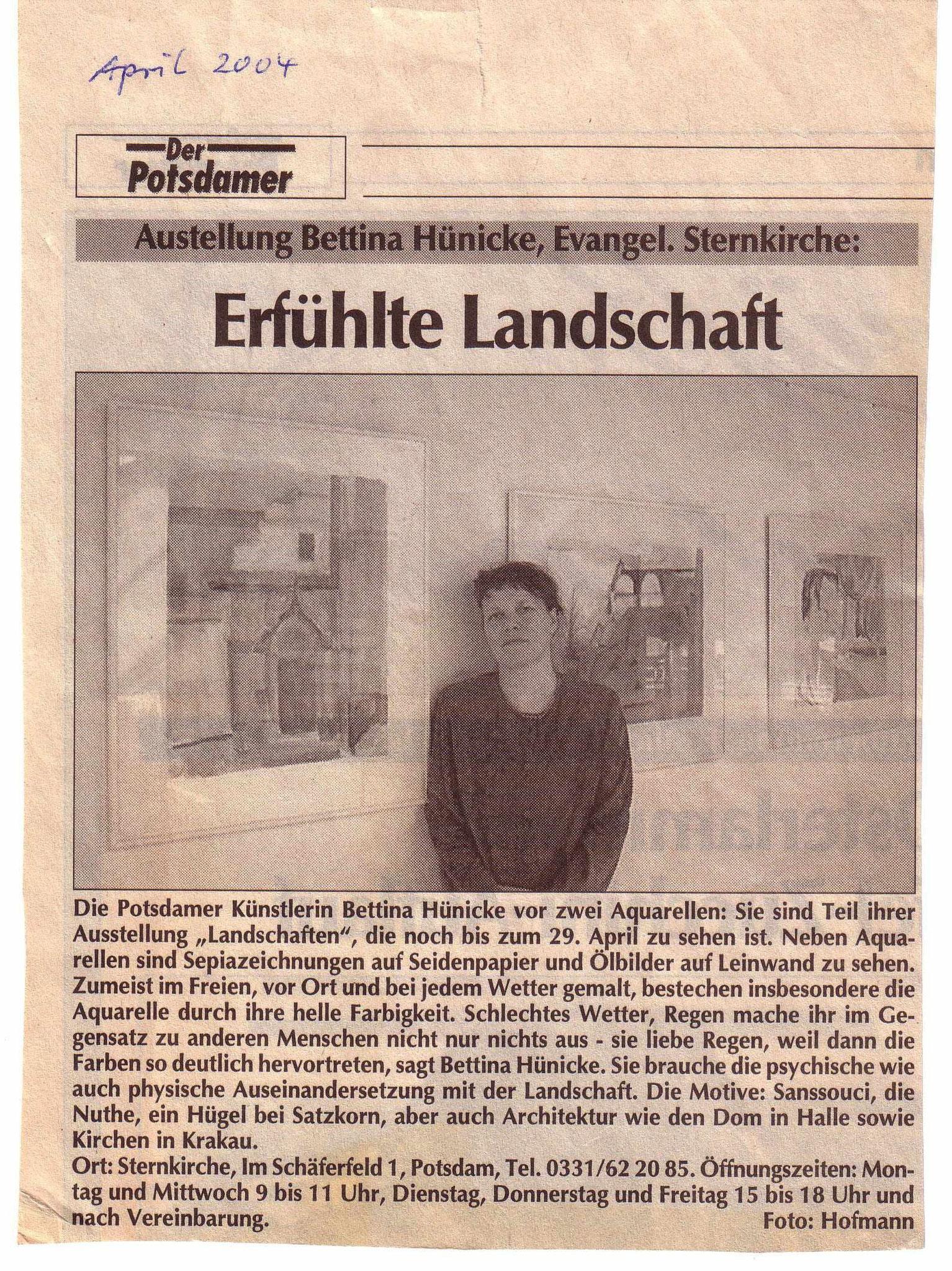 April 2004: Erfühlte Landschaft Der Potsdamer, Beitrag von Hofmann