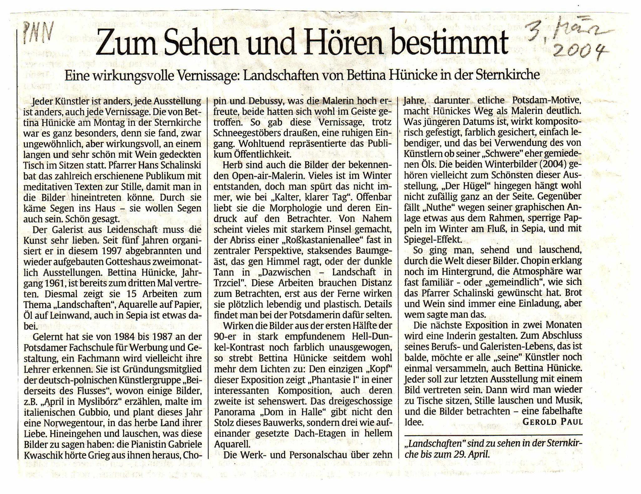 März 2004: Zum Sehen und Hören bestimmt PNN, Rezension von Gerold Paul