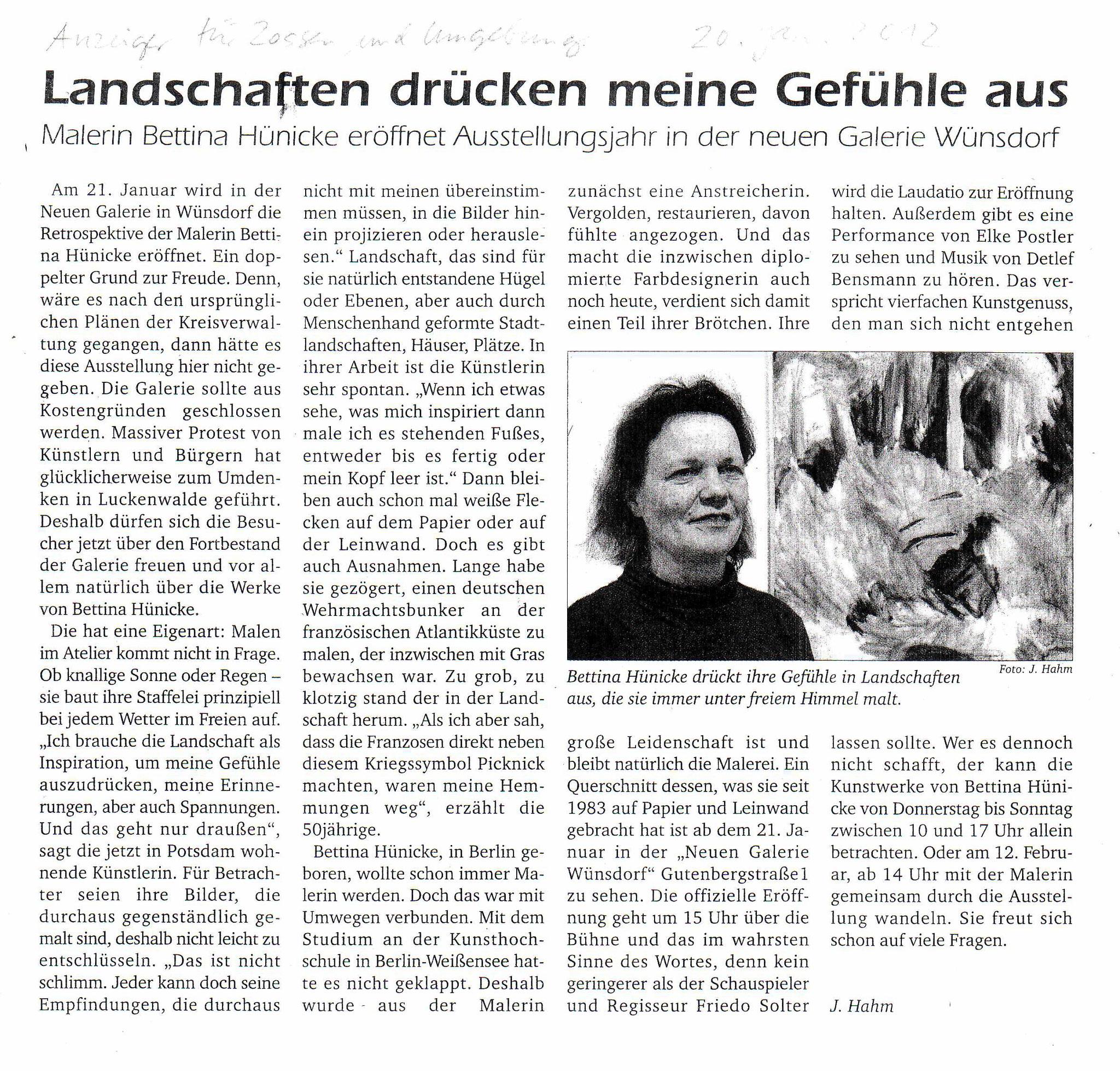 Januar 2012: Landschaften drücken meine Gefühle aus Anzeiger für Zossen und Umgebung, 20.01.2012, Rezension von Jürgen Hahm