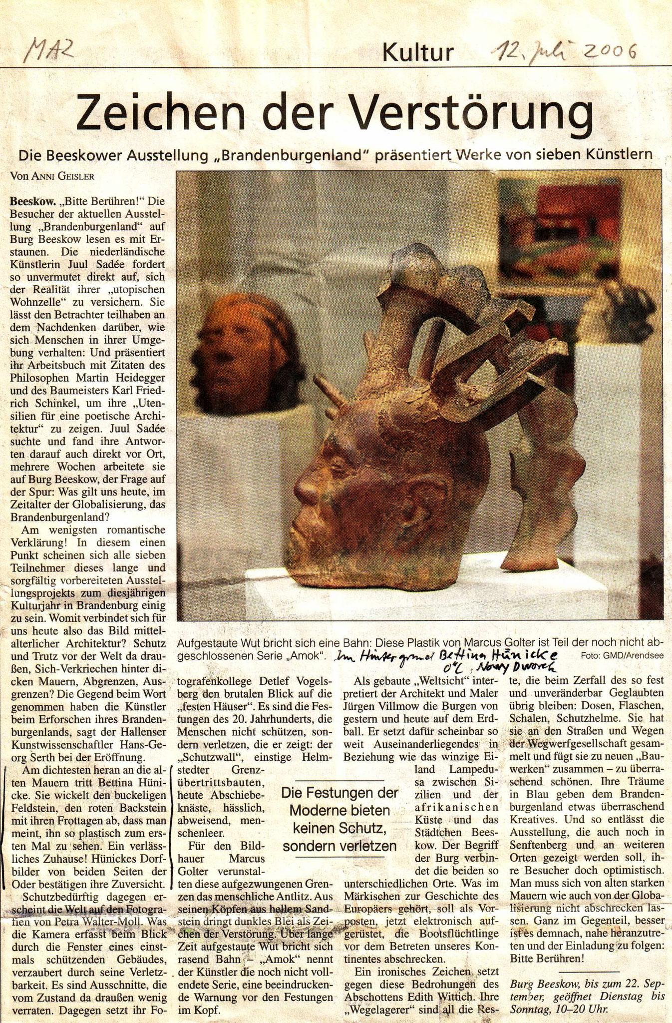 November 2007 Meditterane Farbenfülle MAZ 27.11.2007, Rezension von Bärbel Wendt