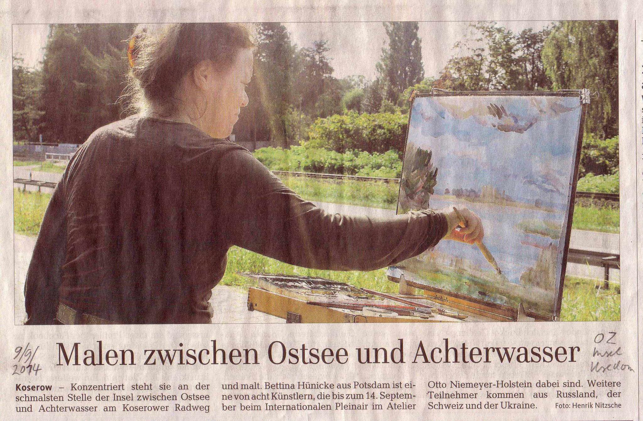 September 2014: Malen zwischen Ostsee und Achterwasser Ostsee-Zeitung OZ, 9.9.2014, Beitrag und Fotografie von Henrik Nitzsche