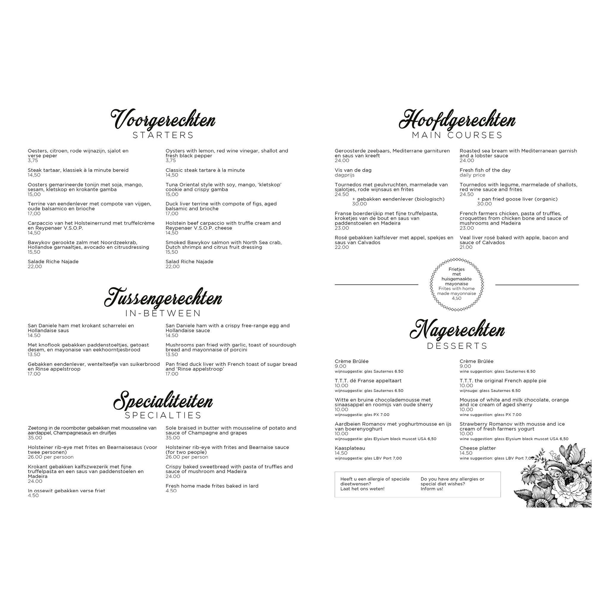Restaurant Najade - Loosdrecht - Menu Ontwerp