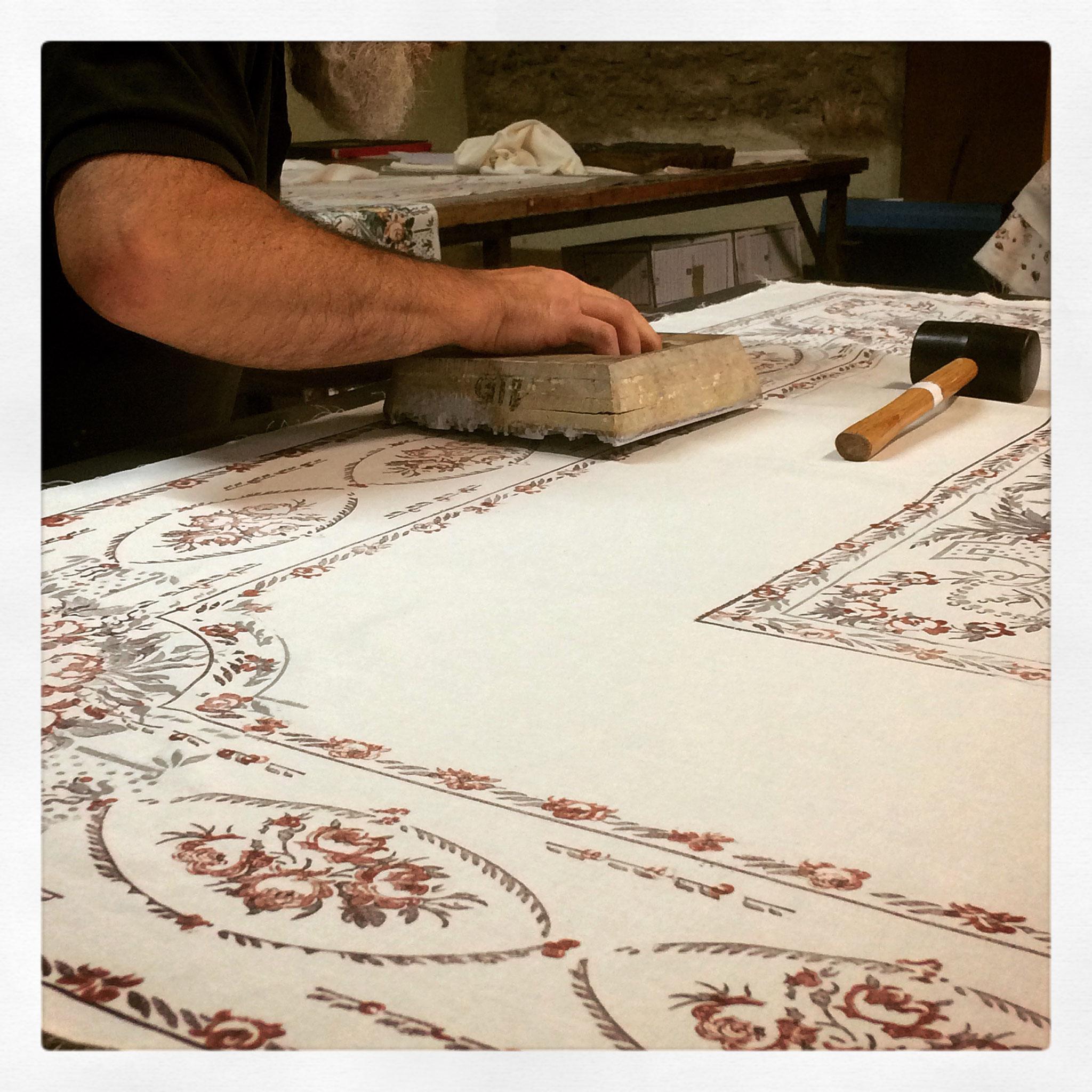 Fête du Fil Labastide Rouairoux Impression textile à la planche Toiles Montagne Noire