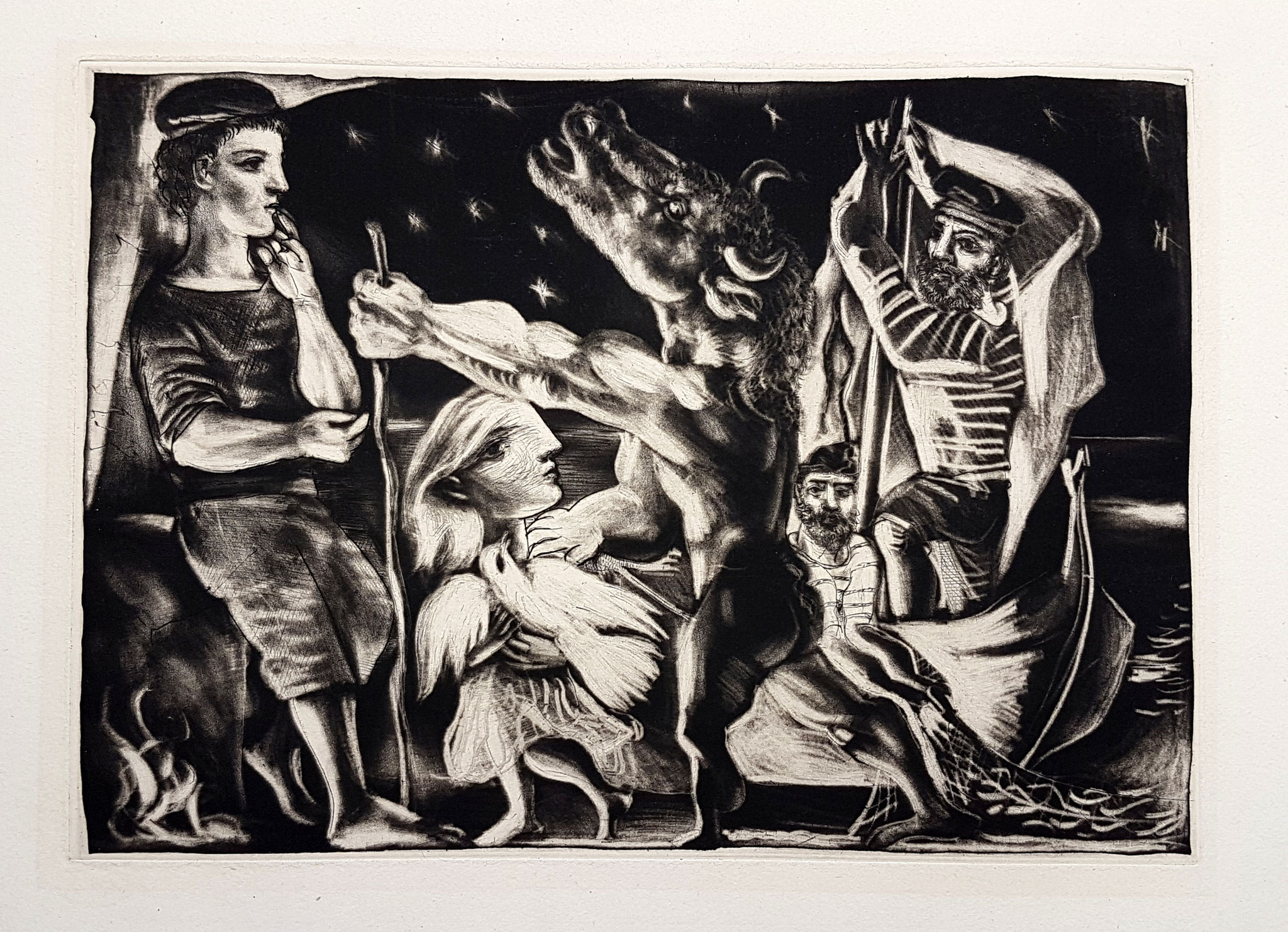 Adjugé 50 740 € - PICASSO Pablo, 1934, estampe de la suite Vollard, 24,5 x 34,5 cm