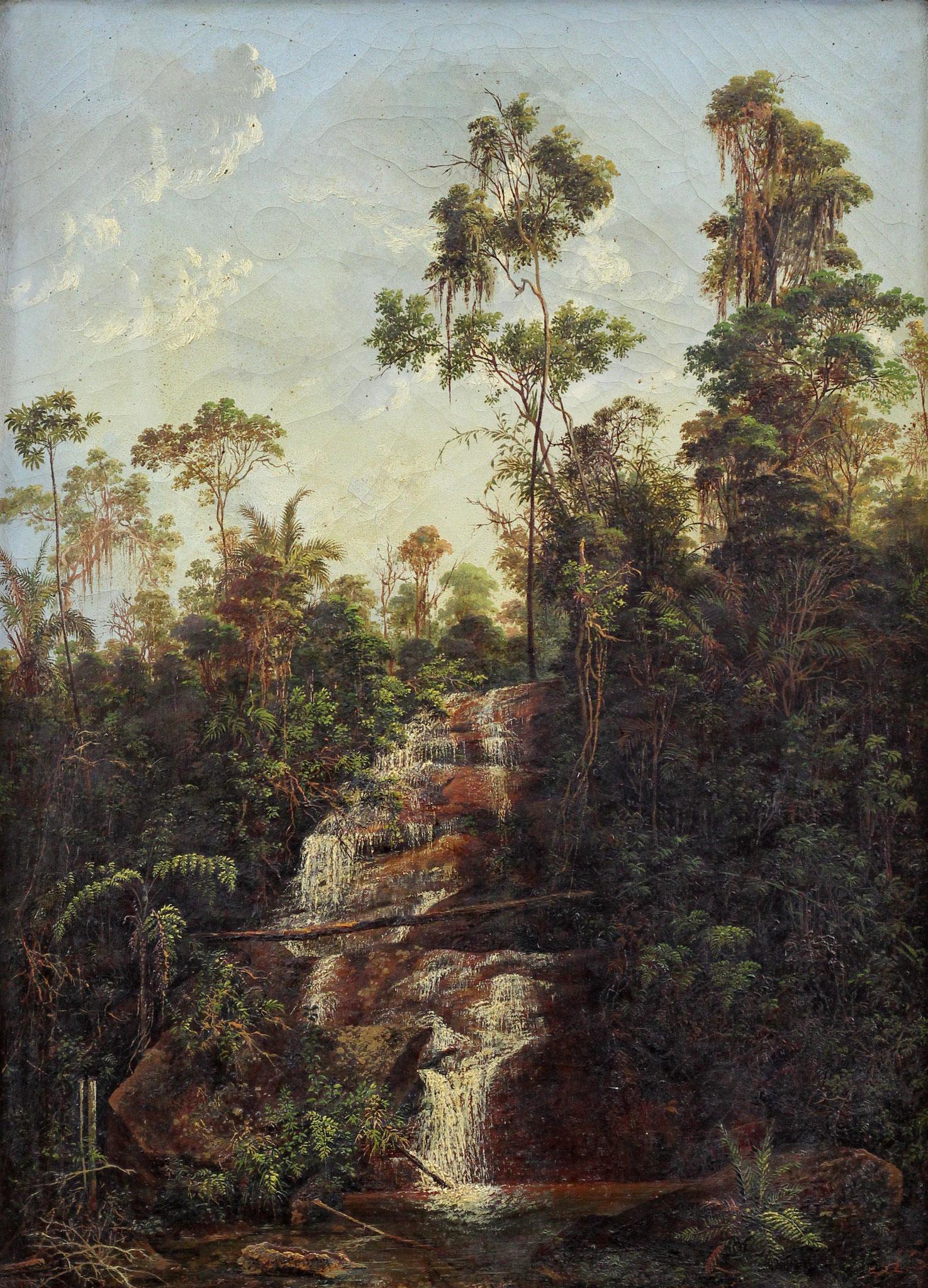 Adjugé 43 780 € - FACCHINETTI Nicolau Antonio, Chute d'eau près d'une ferme à Serra do Capim, route de Teresopolis à Sapucaia, Etat de Rio de Janeiro, Brésil, 1873, huile sur toile, 53 x 38 cm
