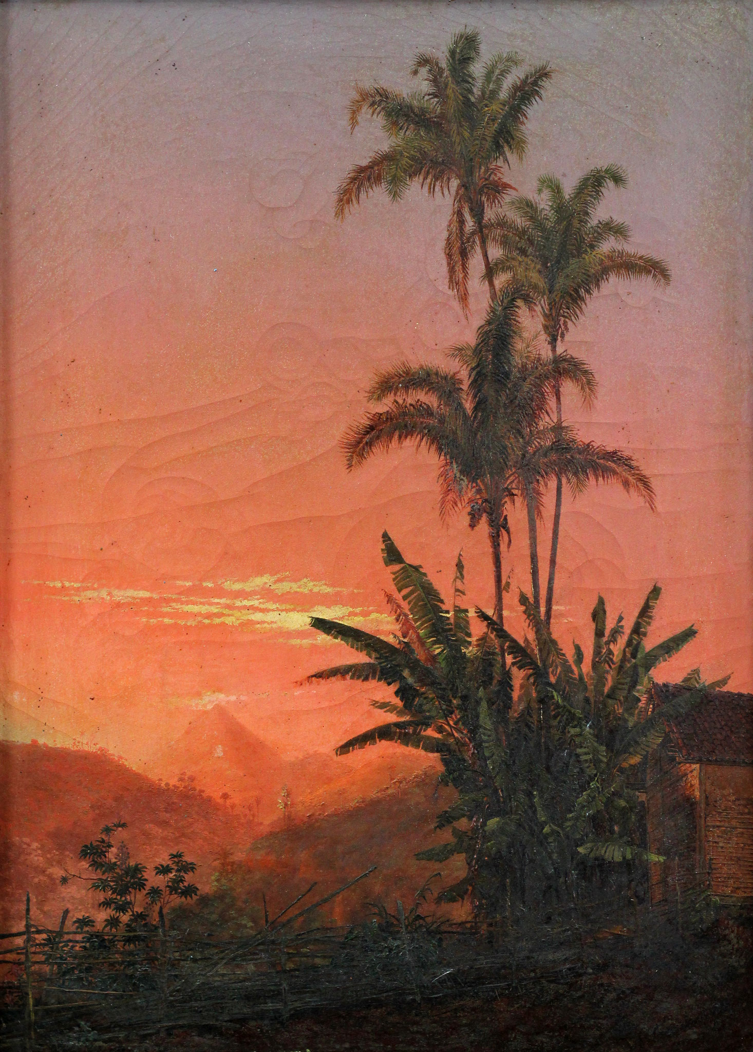 Adjugé 54 720 € - FACCHINETTI Nicolau Antonio, Coucher de soleil près d'une ferme au Brésil, 1873, huile sur toile, 53 x 38 cm