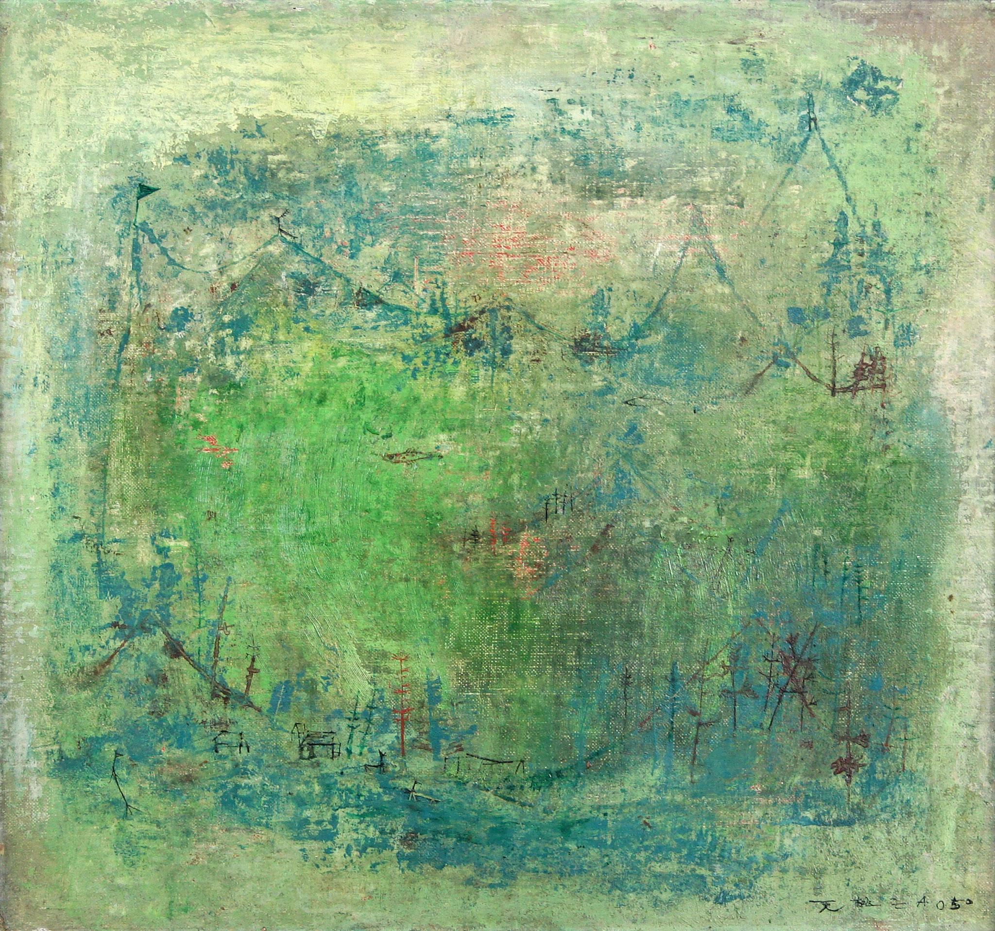 Adjugé 119 080 € - ZAO Wou-Ki, Sans titre, 1950, huile sur toile, 42 x 45 cm