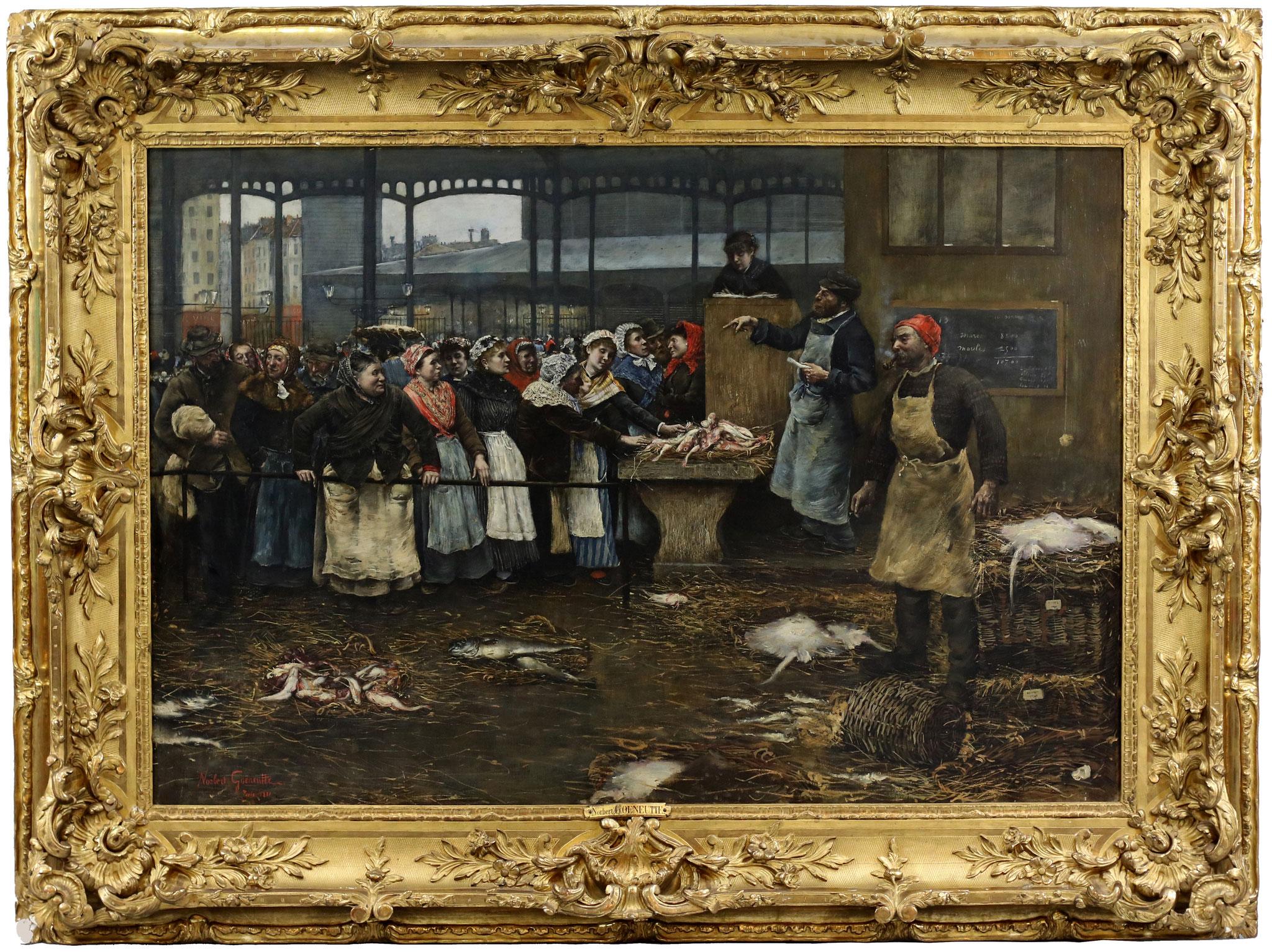 Adjugé 57 150 € - GOENEUTTE Norbert , La criée, Les Halles, Paris, 1881, huile sur toile, 101 x 146 cm