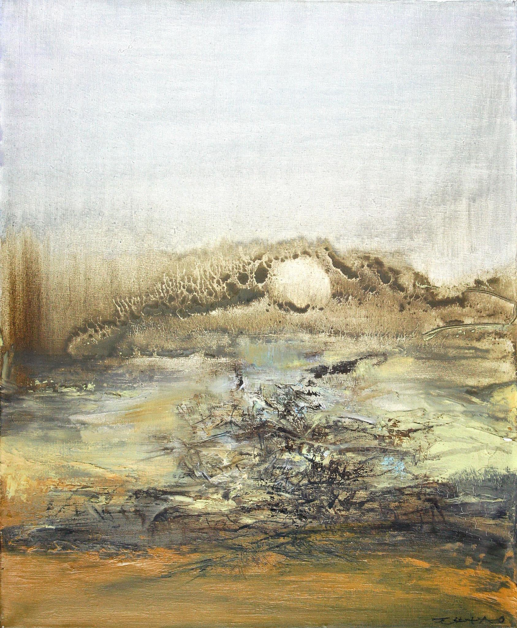 Adjugé 136 590 € - ZAO Wou-Ki, Sans titre, 26/01/1966, huile sur toile, 61 x 50 cm