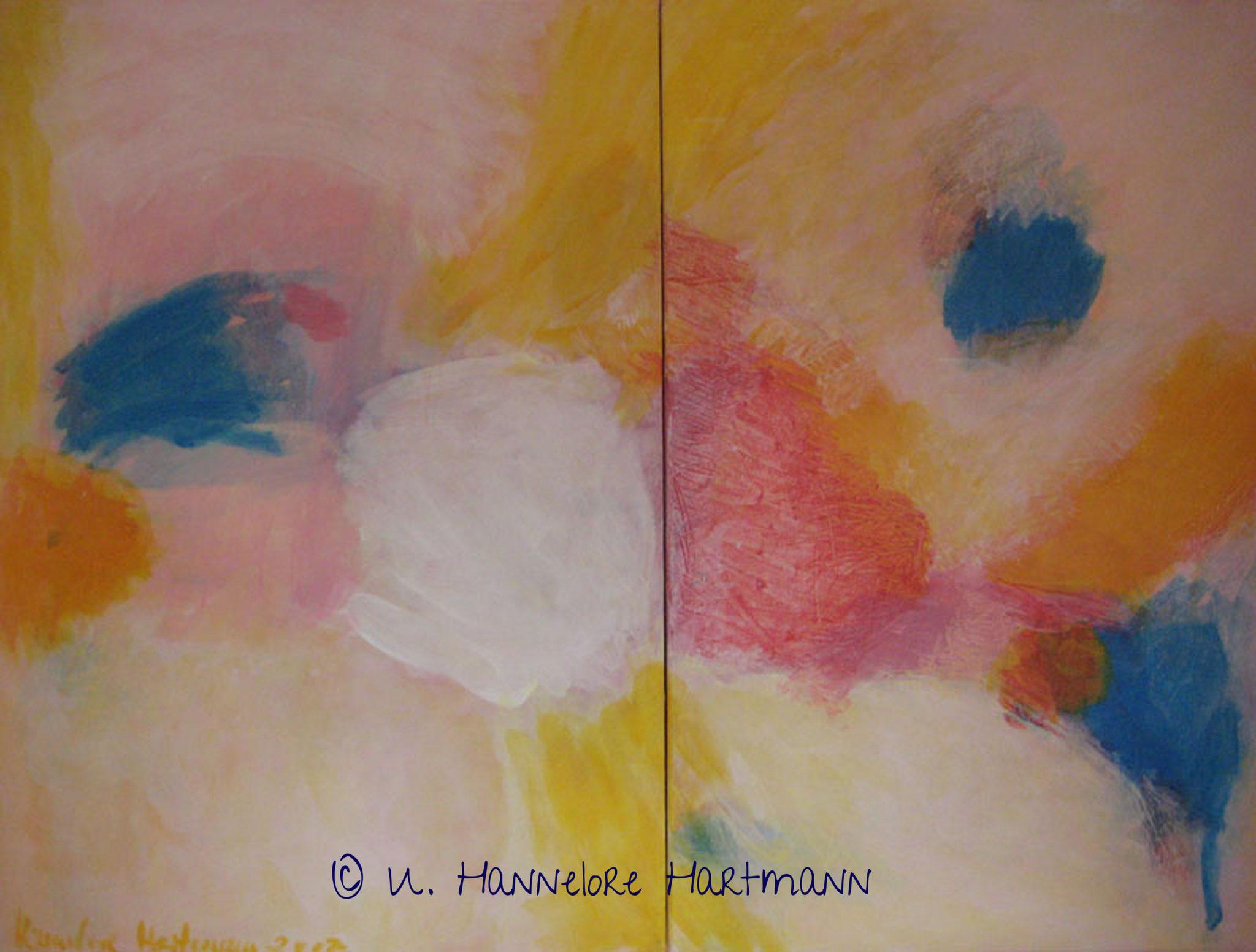 """""""Together"""" Acryl, Pigmente auf Nessel, Ölkreide, 120 x 160, mit Schattenfugenleiste"""