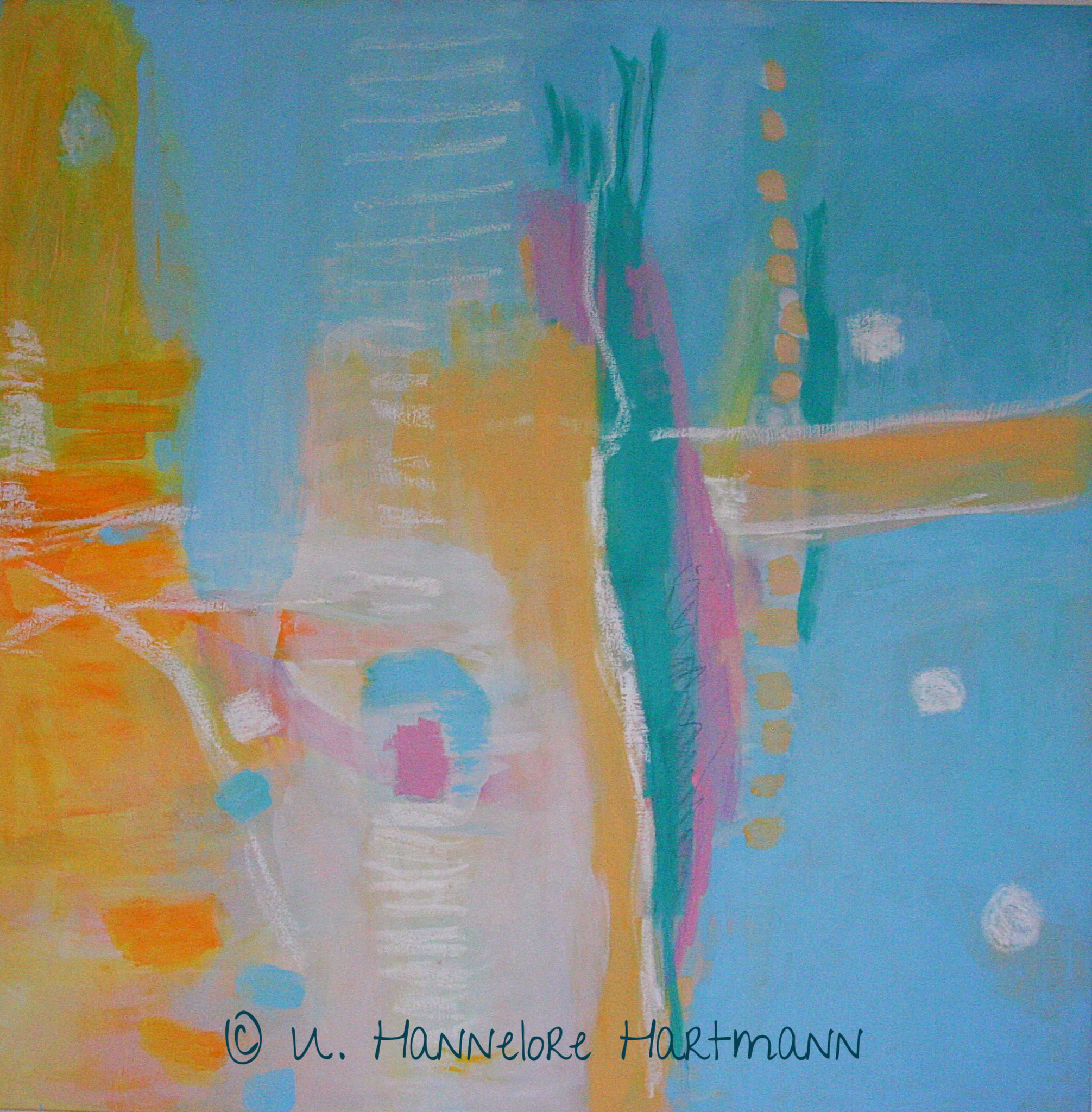 """Sommertag"" , Acryl, Pigmente, Ölkreide auf Nessel, 120 x 120"