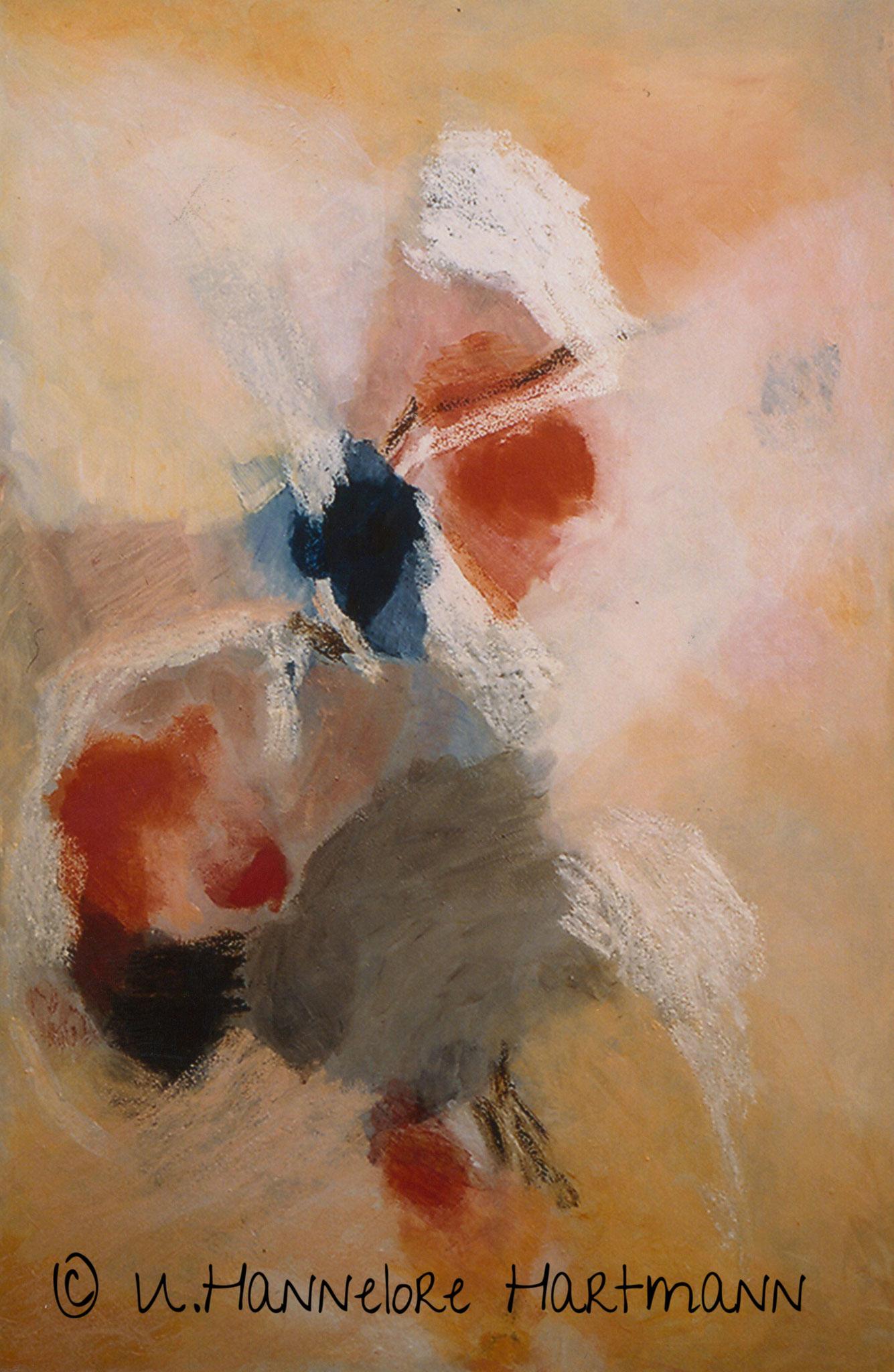 """""""Spiel mit Rot und Blau"""", Acryl, Pigmente, Ölkreide auf Nessel, 120 x 80, mit Schattenfugenleiste"""