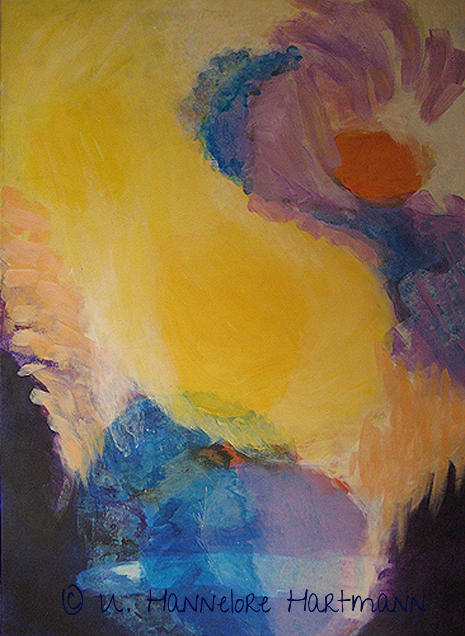 """""""Geburt"""", Acryl, Pigmente auf Nessel, Ölkreide, 120 x 80, mit Kupferrohrahmen"""