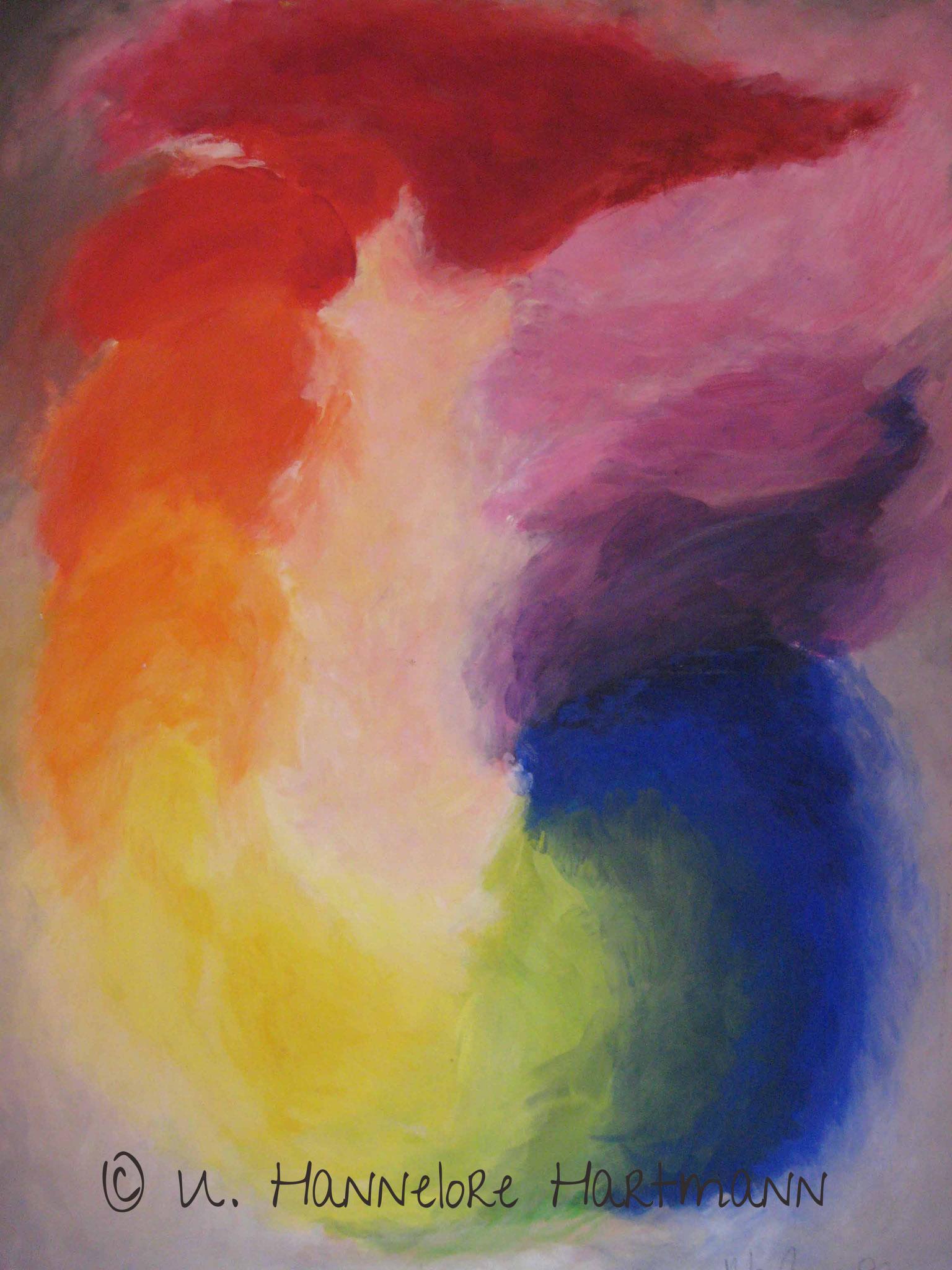 """""""Der Goethe Farbkreis"""", Polarität & Steigerung,  Aktiv & Passiv, Licht & Finsterniss, Acryl auf Nessel, 100 x 80, mit Kupferrohrrahmen"""