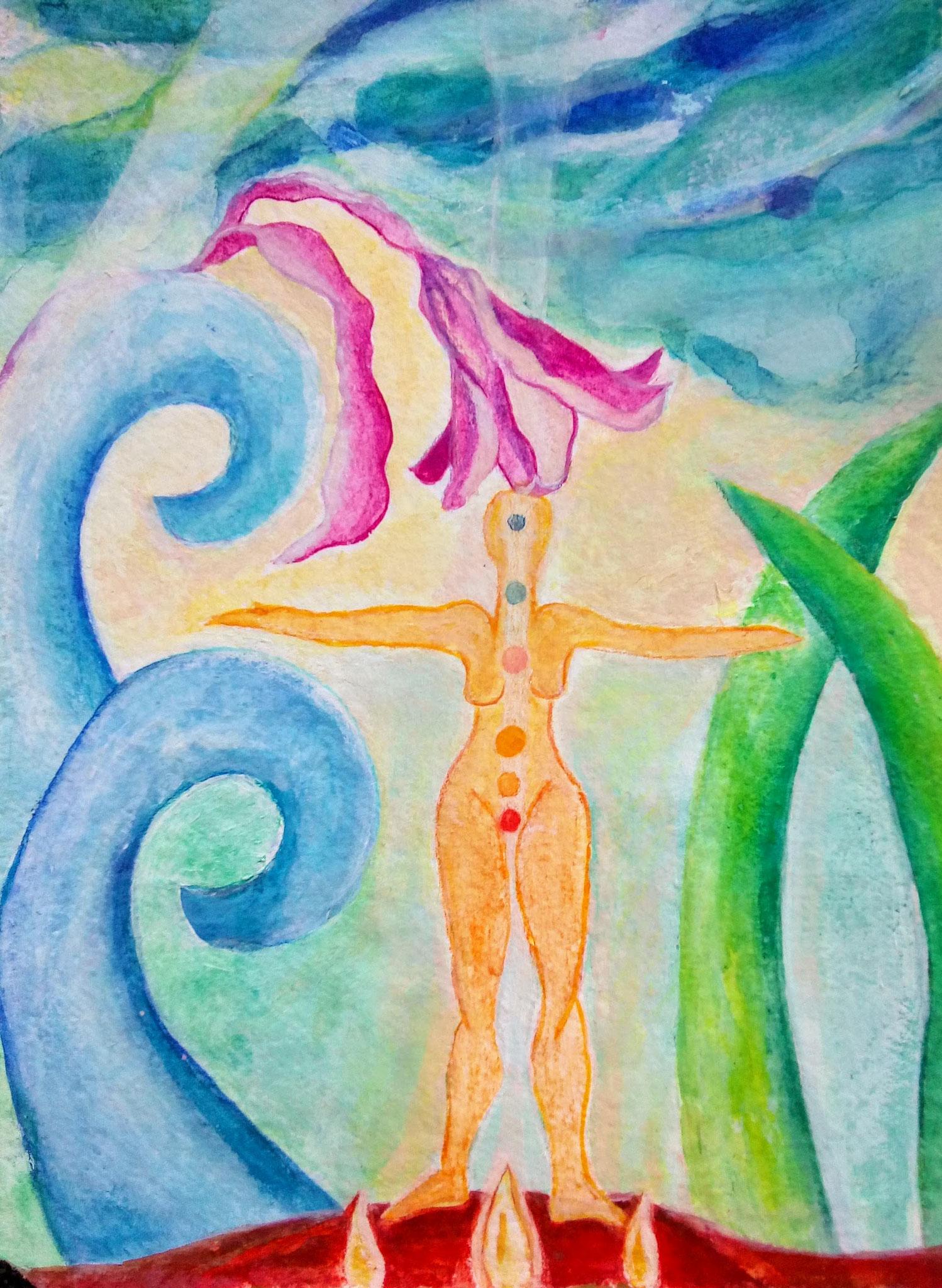 Frau mit Lilie,  Aquarell auf geschöpftem Papier,  30 x 40