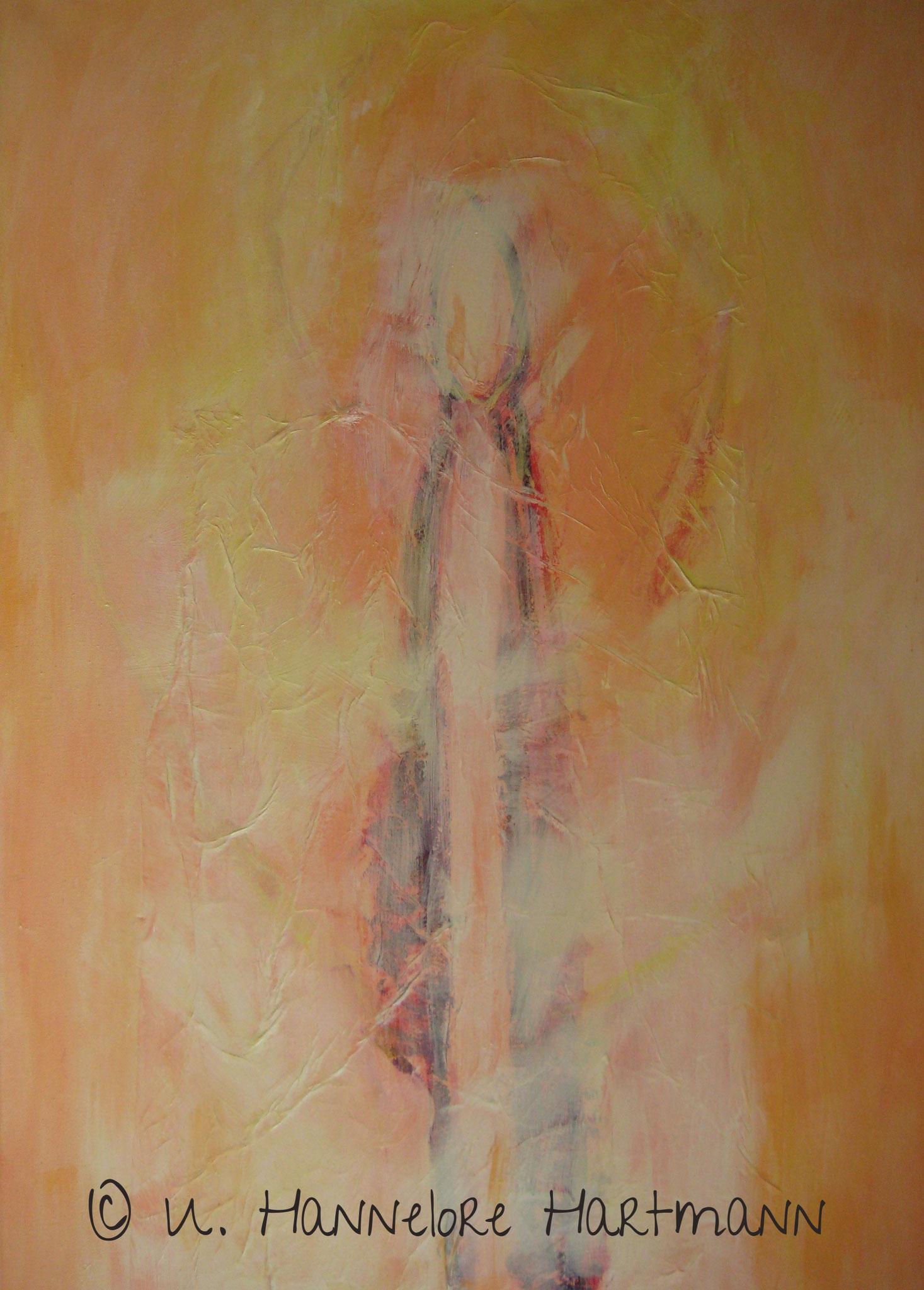 """""""Lichtwesen"""" Acryl, Pigmente, Ölkreide auf Nessel, 100 x 80, mit Kupferrohrahmen"""