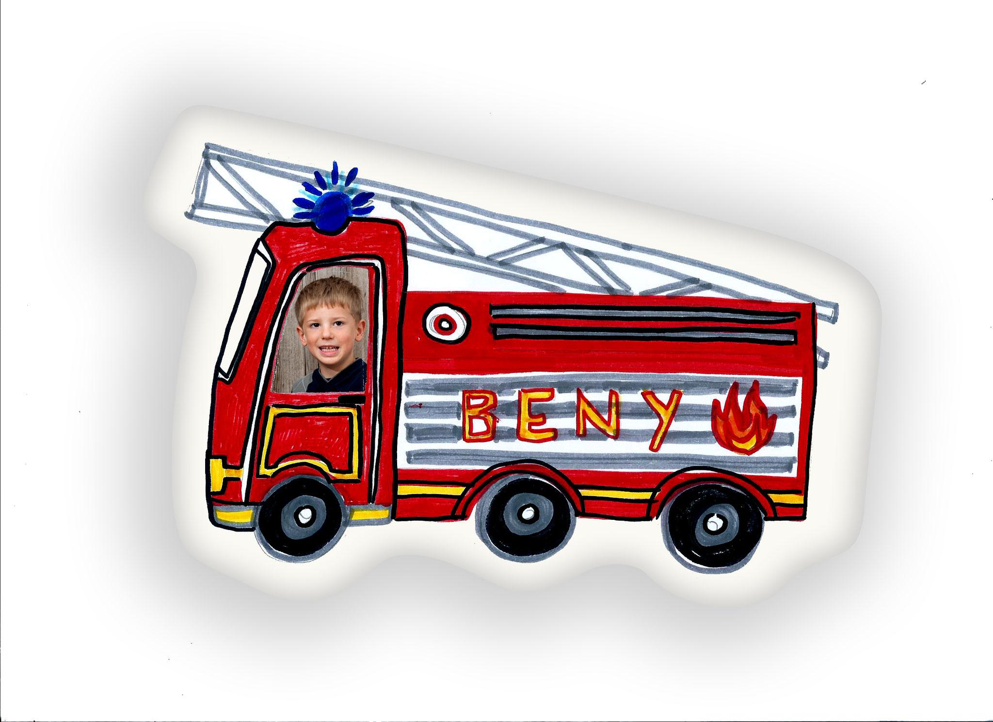 Feuerwehrkissen, Feuerwehr, Kissen, Kinderkissen, Namenskissen, Junggs Kissen