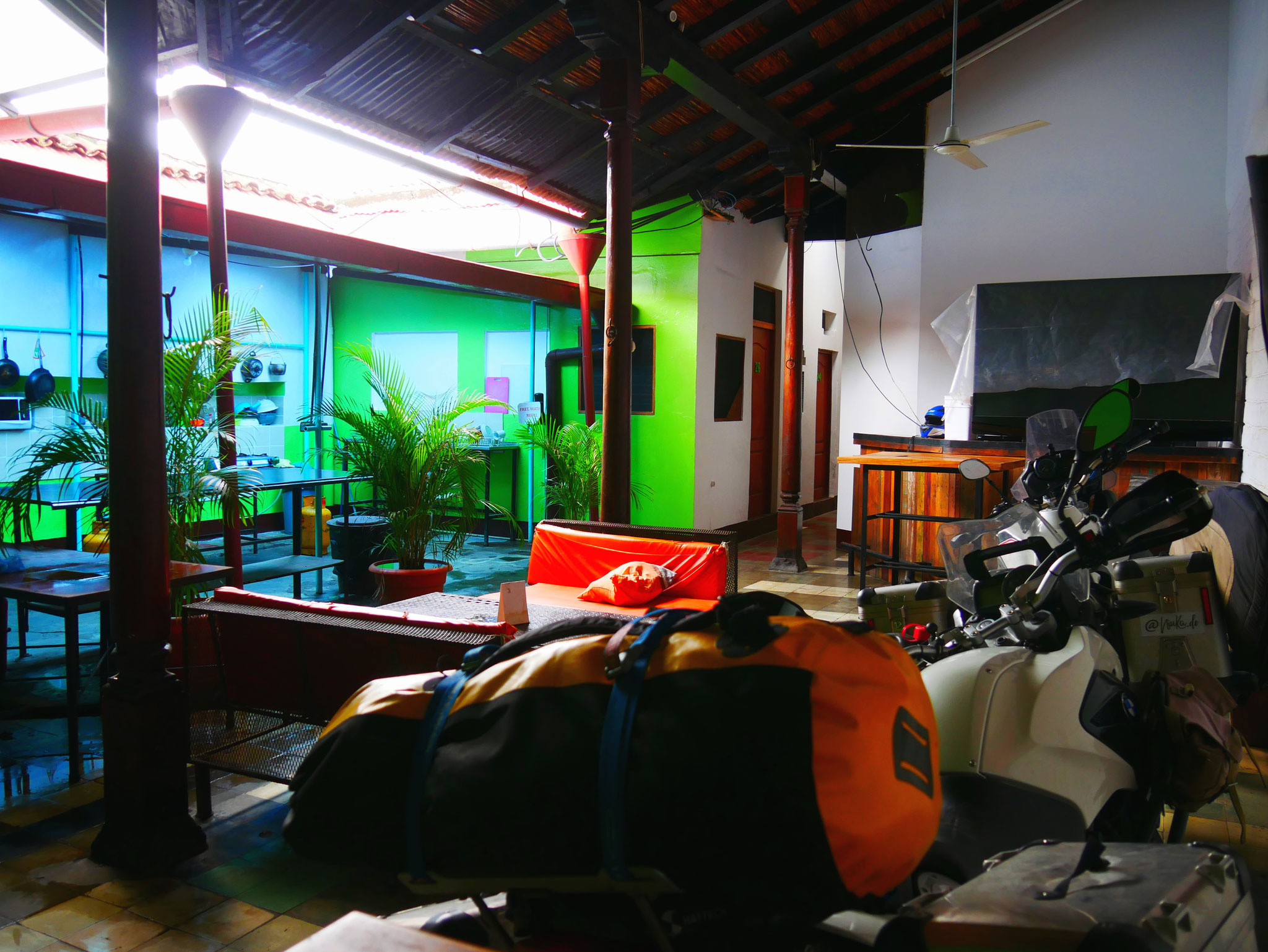 Parking in the kitchen of Hostel Oasis, Granada / Nicaragua