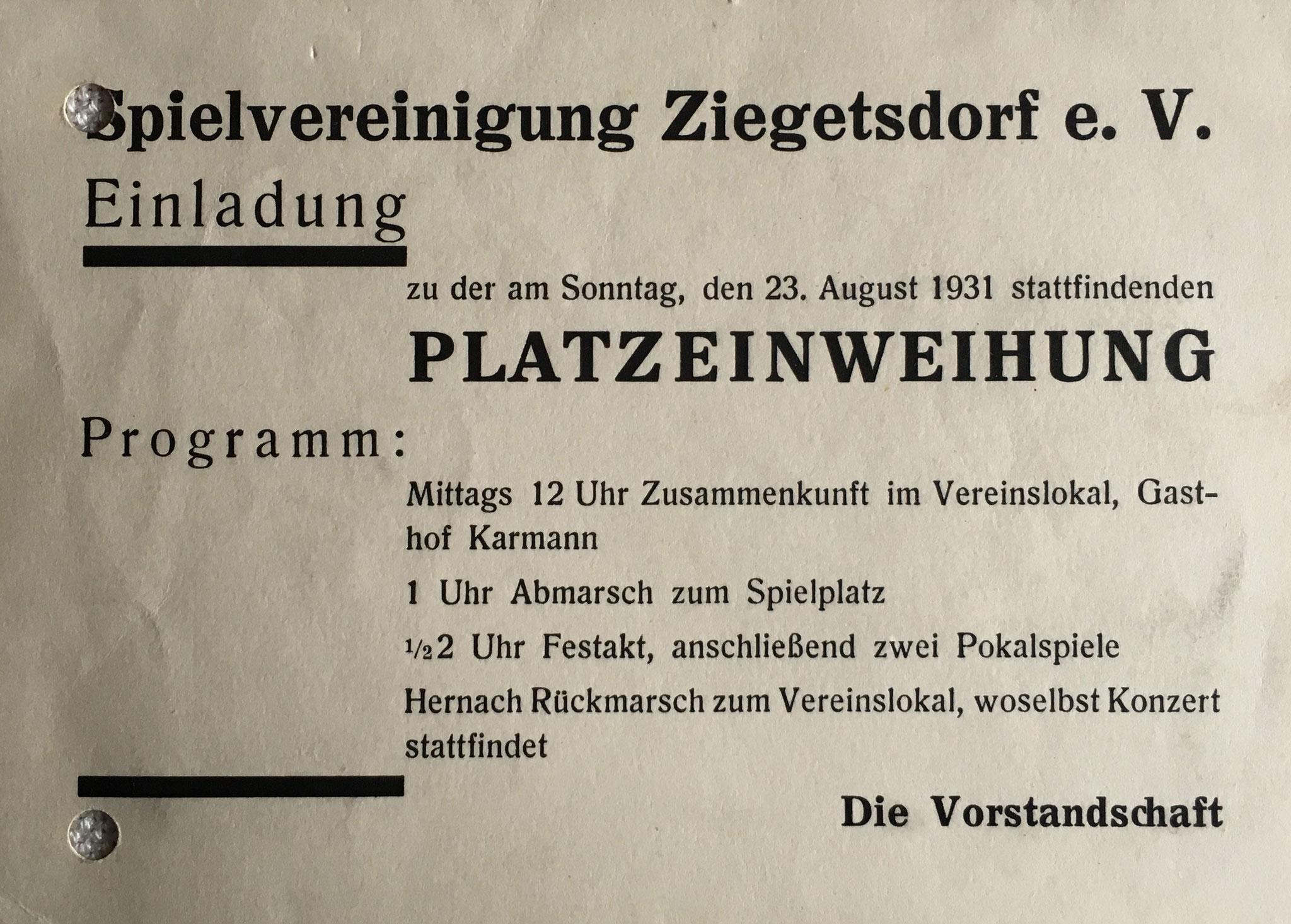 Im Jahr 1931 wird der erste Sportplatz der SpVgg Ziegetsdorf eingeweiht