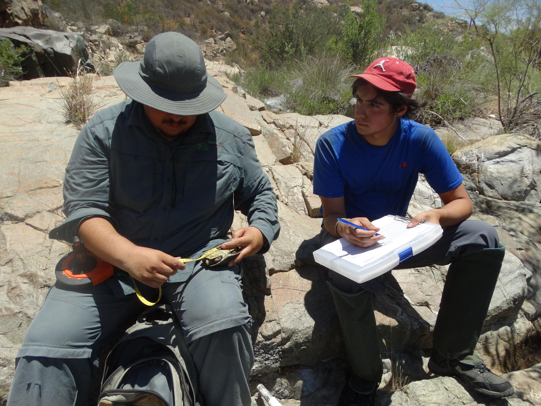 M. C. Jorge Valdez (izquierda) e Ismael Plasencia (derecha) tomando datos de las pozas.