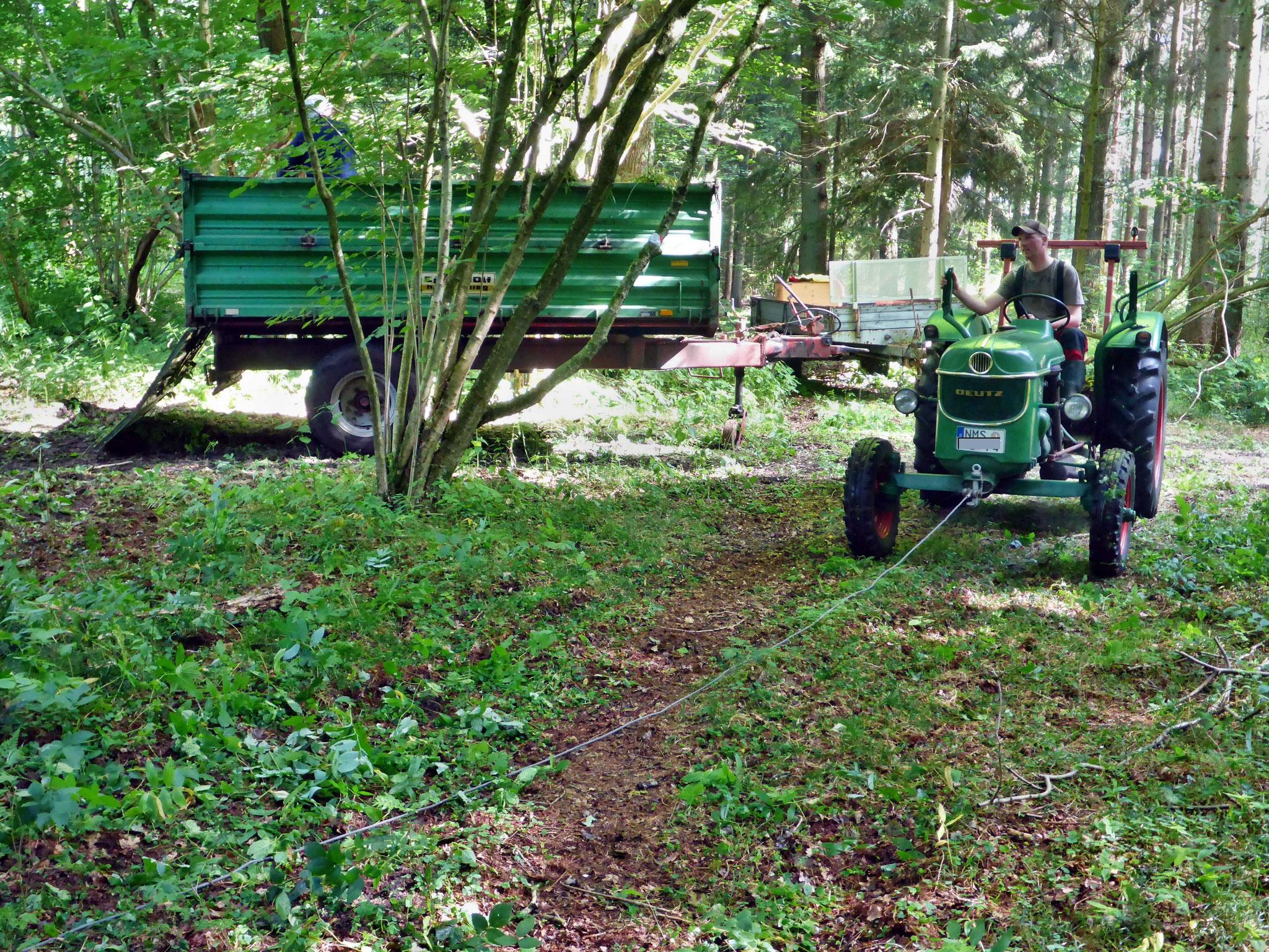 Herausziehen der Säcke mit Traktor und Seil vom Rand aus.