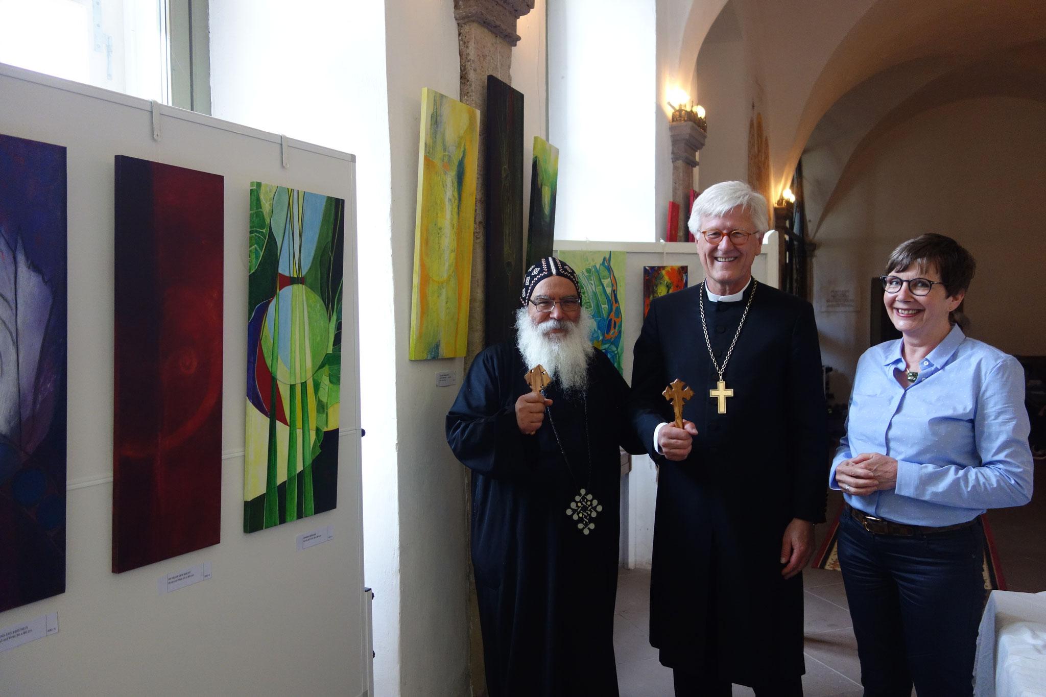 S.E. Bischof Anba Damian, Prof. Dr. Heinrich Bedford-Strohm und Jutta Schlier. Foto: Daniela Rutica