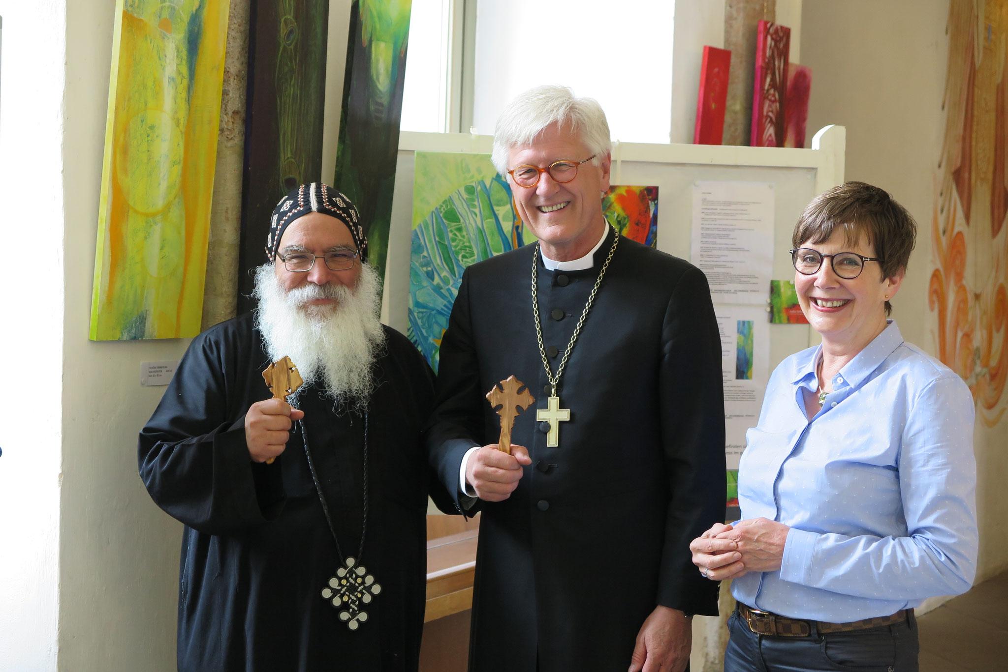 S.E. Bischof Anba Damian, Prof. Dr. Heinrich Bedford-Strohm und Jutta Schlier. Foto: Christian Hohmann