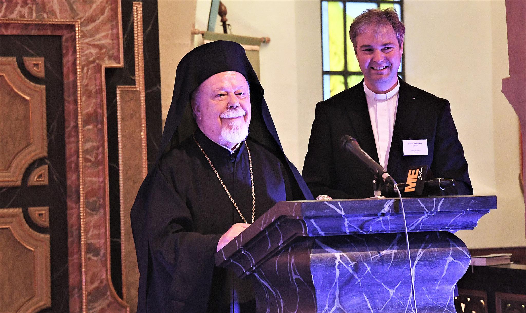 S.E. Metropolit Augoustinos (Griechisch-Orthodoxe Metropolie) und Pastor Tobias Spittmann. Foto: Maria Hopp
