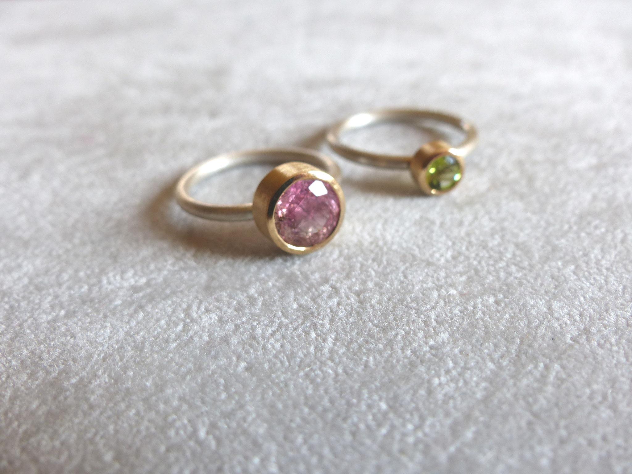 Ringe in Silber 925 und Gelbgold 750 mit Turmalin und Peridot