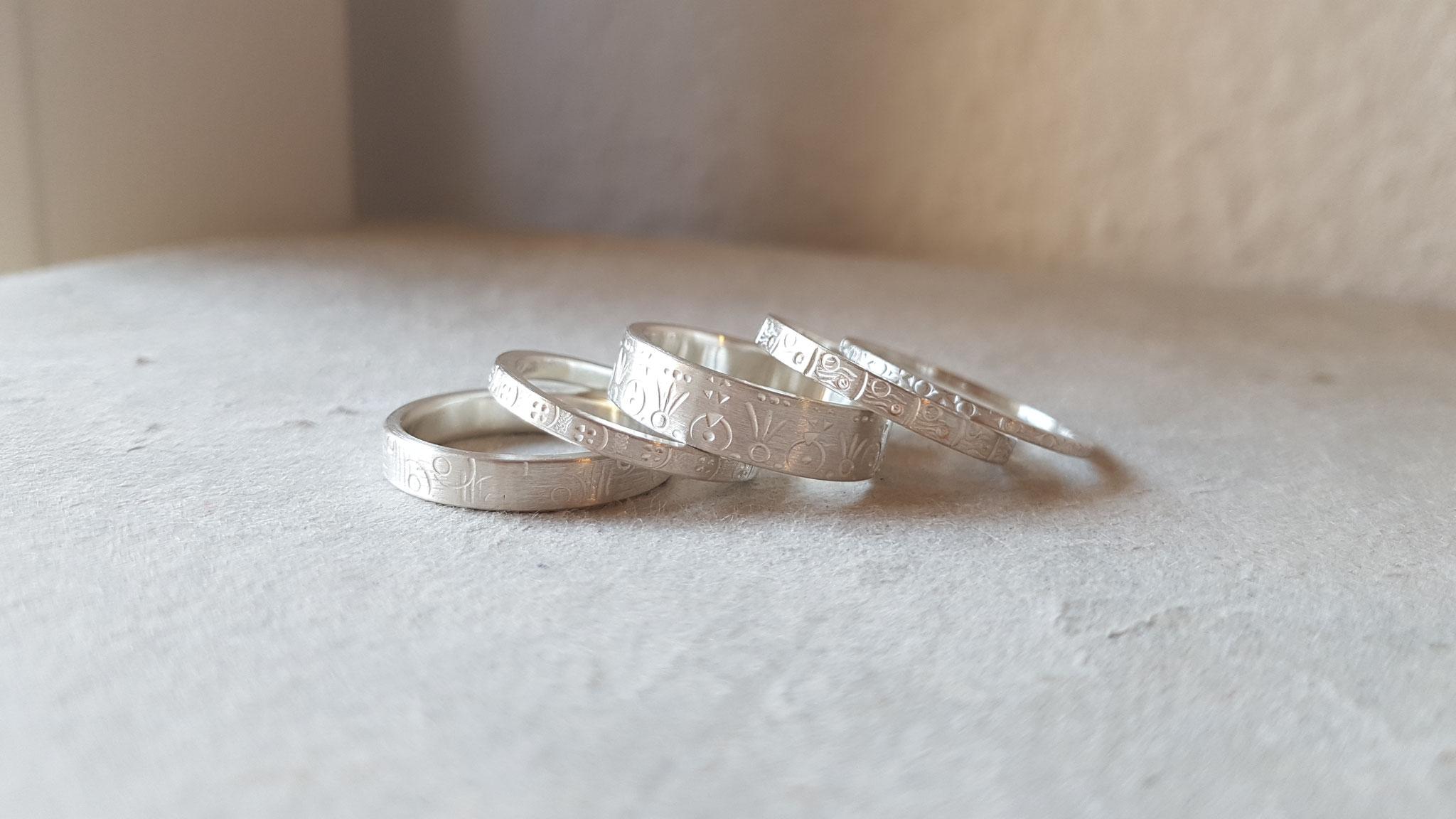 Ringe in Silber 925, ziseliert