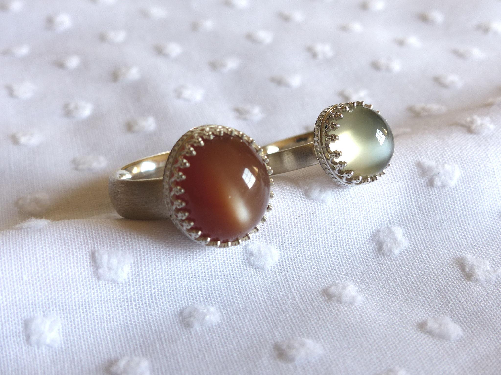 Ringe in Silber 925 mit Mondstein und indischem Mondstein