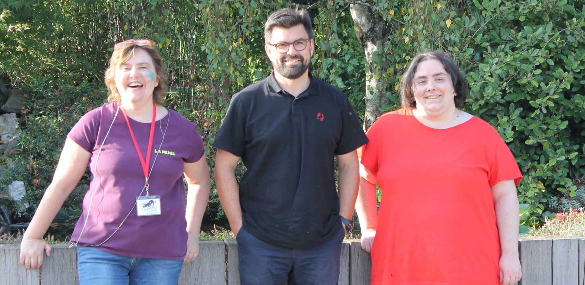Nicolas Segard, La Muse et l'illustratrice auteur Cloé Perrotin aux Jardins Aquatiques à l'été 2017