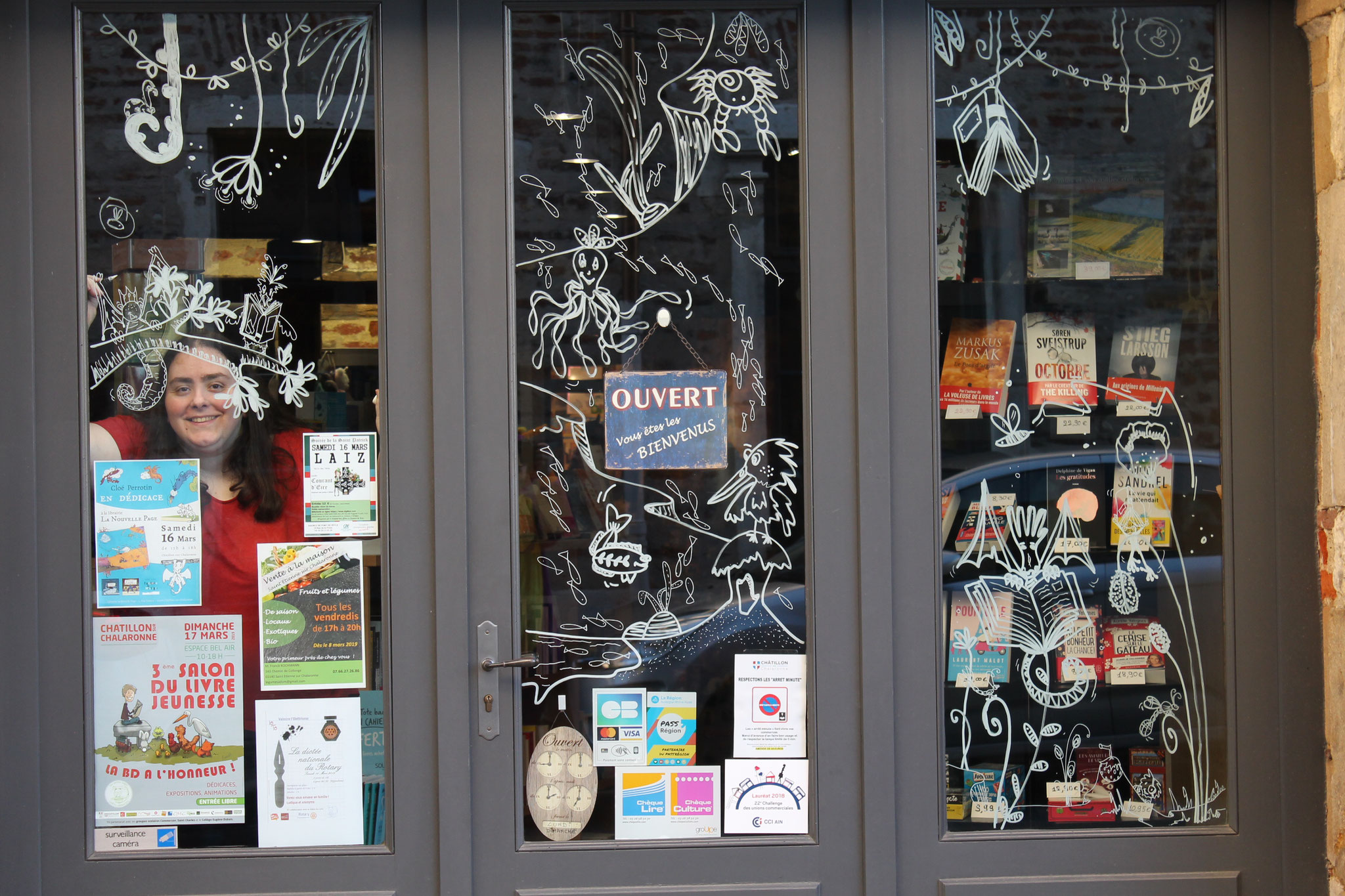 Dragons, poissons et livres en vitrines décorées à la librairie