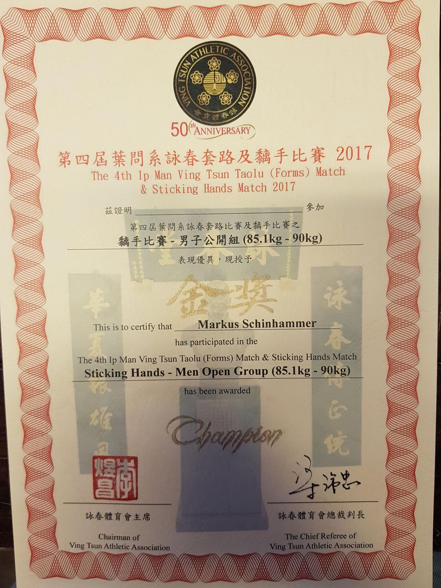 Champion of Hongkong 2017 Urkunde