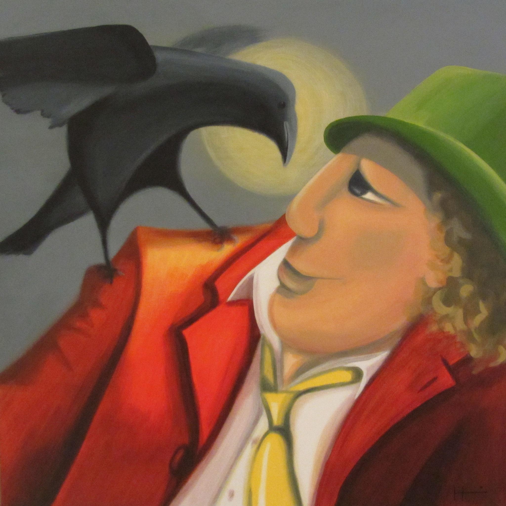 """Vogel der Nacht"", 60x60 cm, Renate Hugenschmidt"