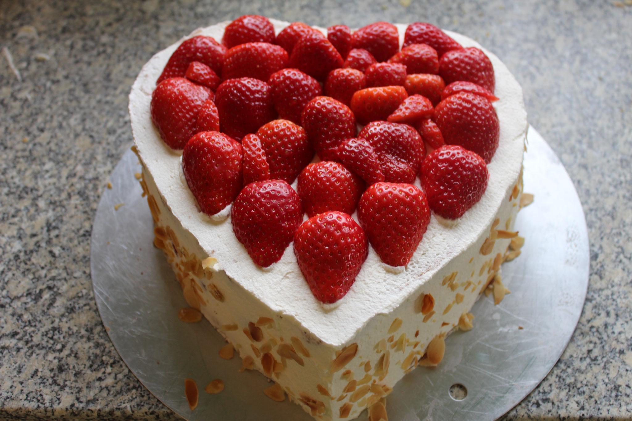 Erdbeeren aufsetzen - am Rand 1cm Platz lassen