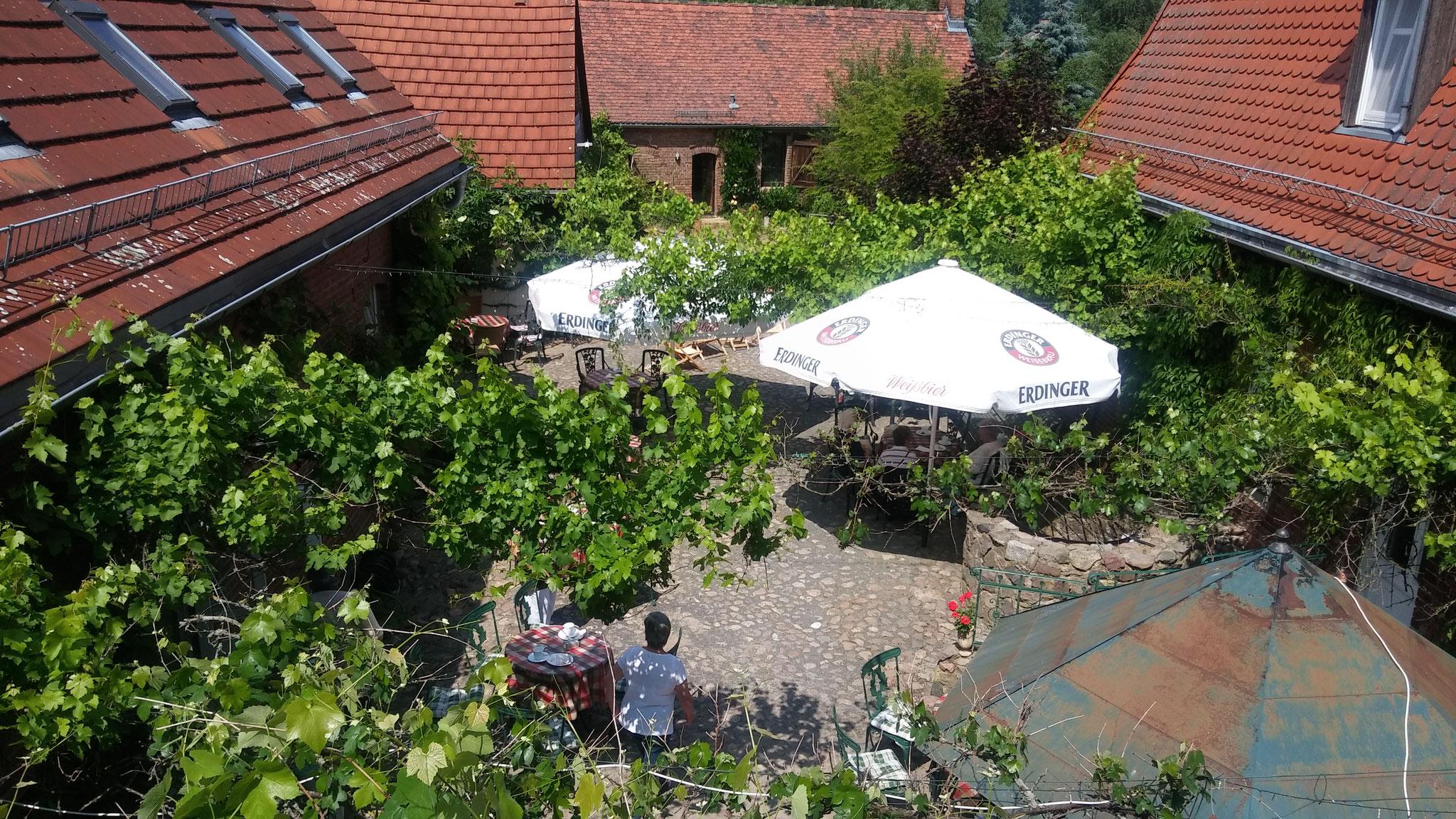 weinberankter Innenhof Hotel Alte Försterei Kloster Zinna