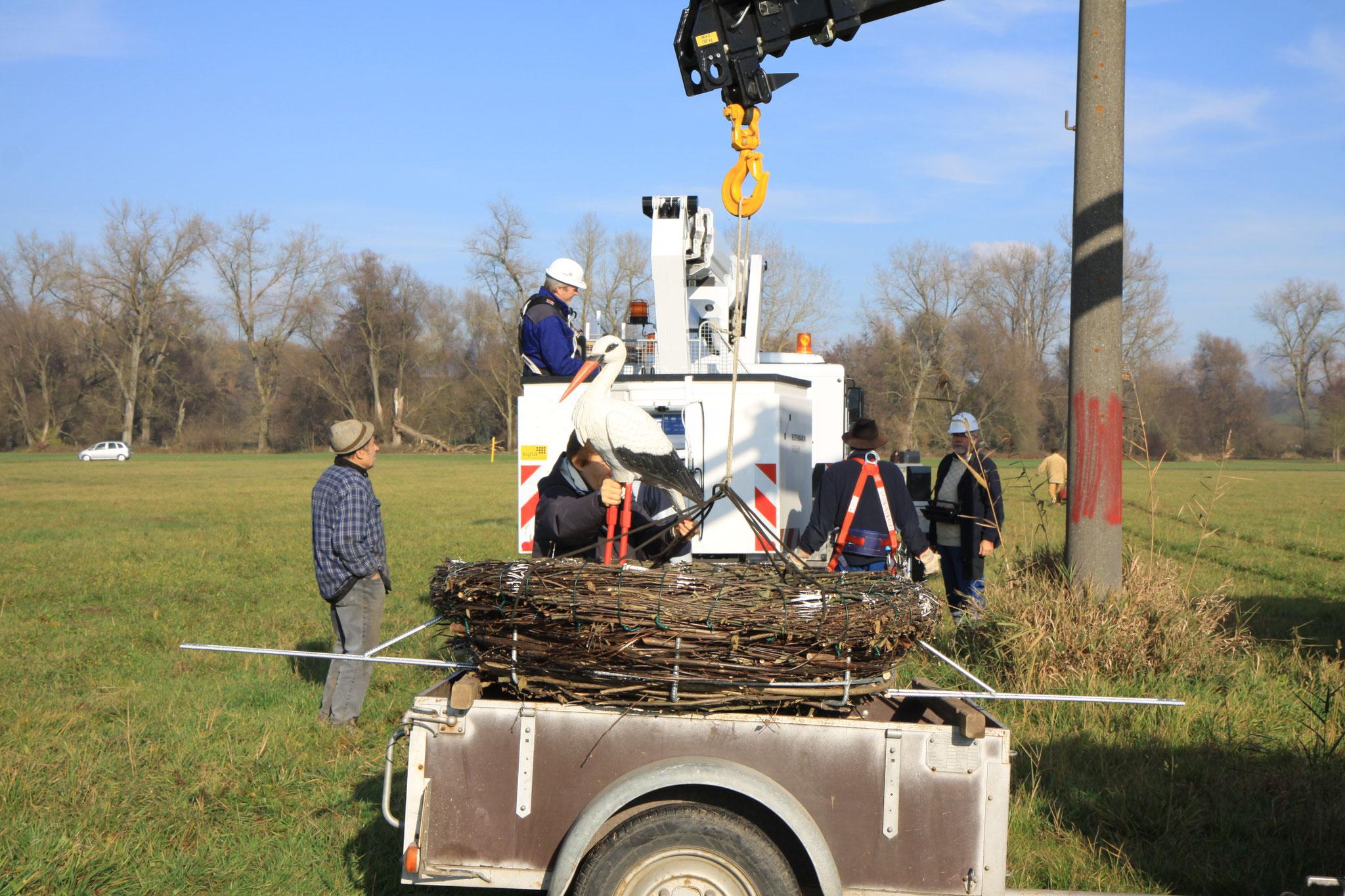 Das Storchennest wird am Kran befestigt (Foto: B. Budig)