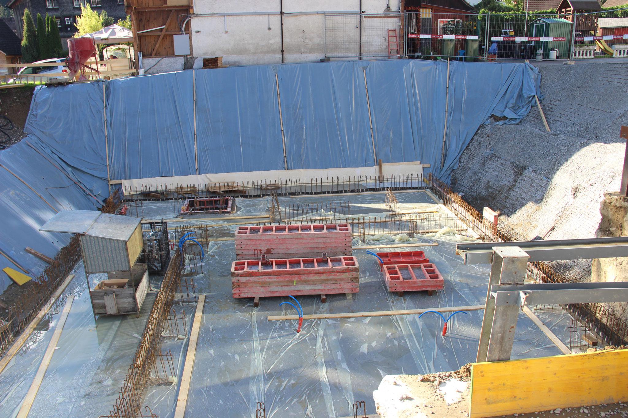 8. Sept. 2017: Die Grundplatte ist betoniert.