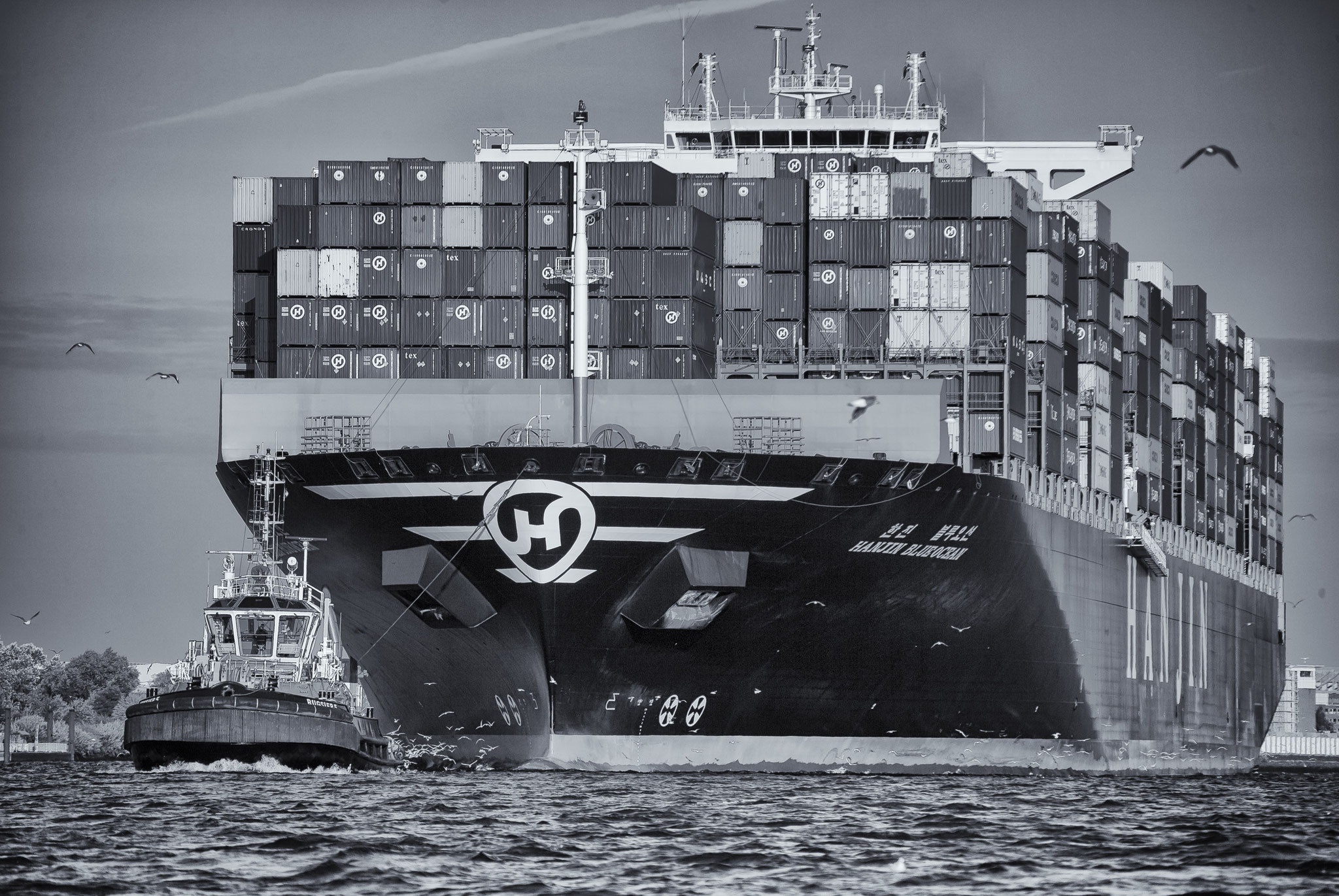 © Hans G. Lehmann | Containership and pilot on the river Elbe in Hamburg