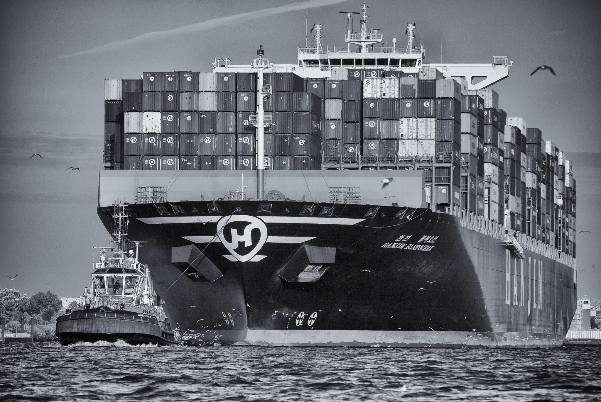 © Hans G. Lehmann | Containerfrachter und Schlepper auf der Elbe in Hamburg