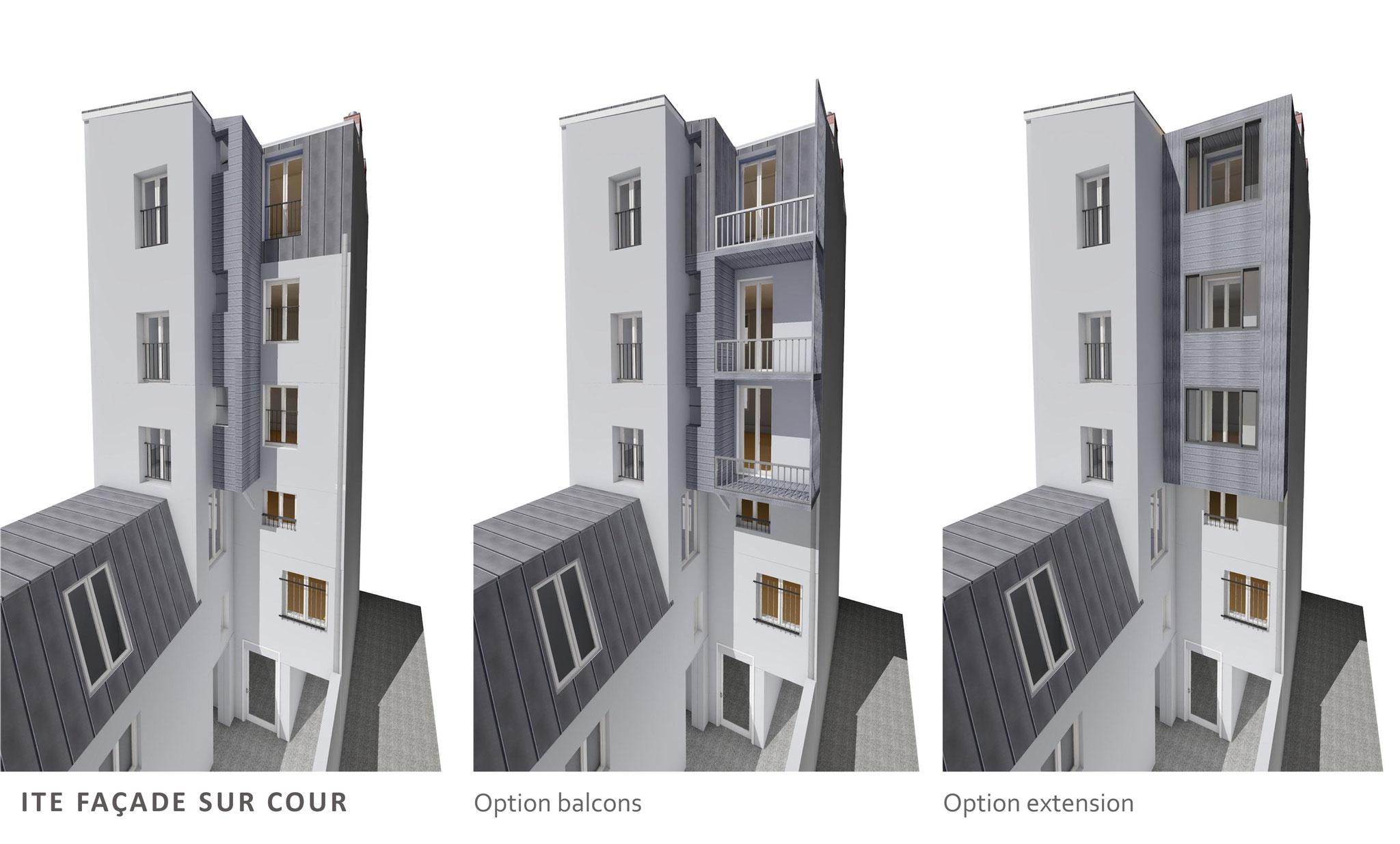 AVANT PROJET: options façade sur cour