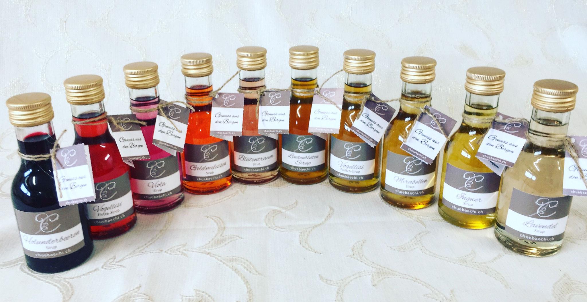 Spezialitäten Sirup in vielen verschiedenen natürlichen Farben