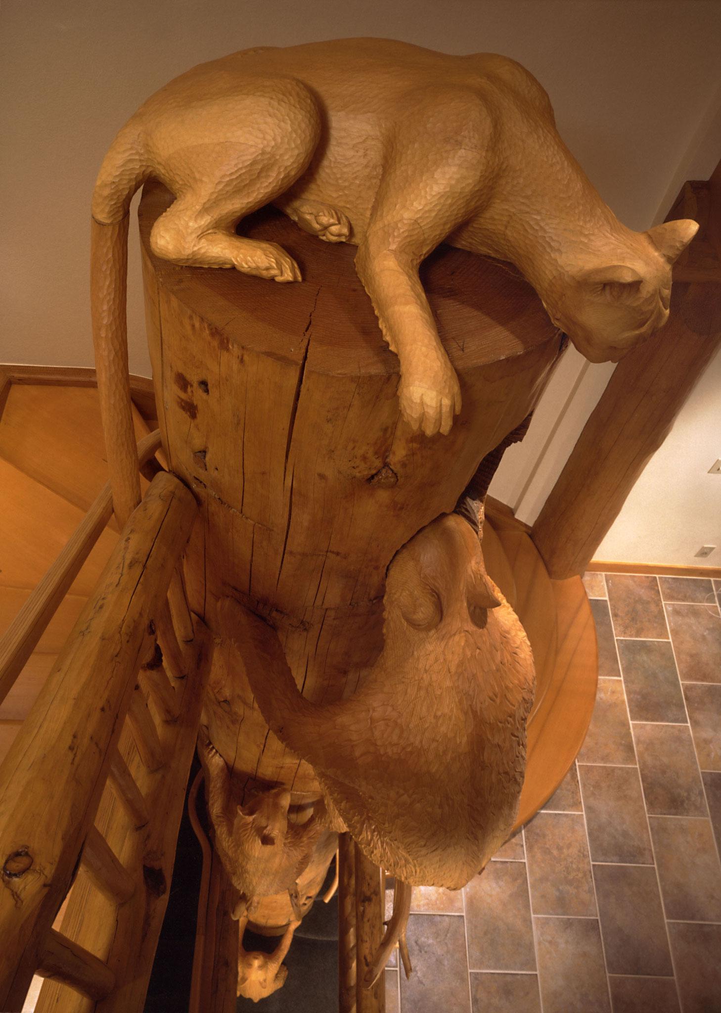 Holzskulptur Puma Bär lebensgross