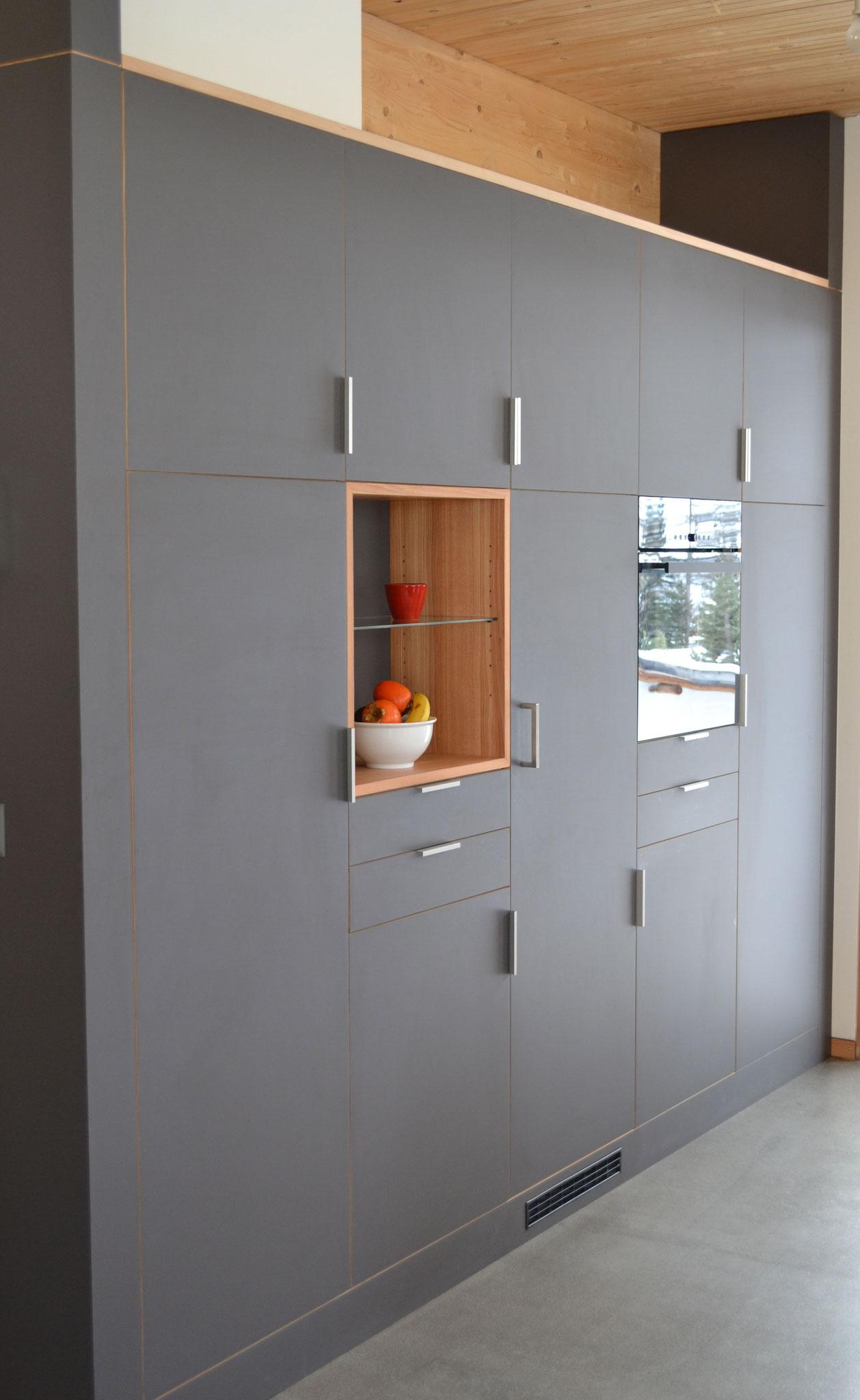Küche Massivholz Lärche und Kelco Grau, Küche nach Mass
