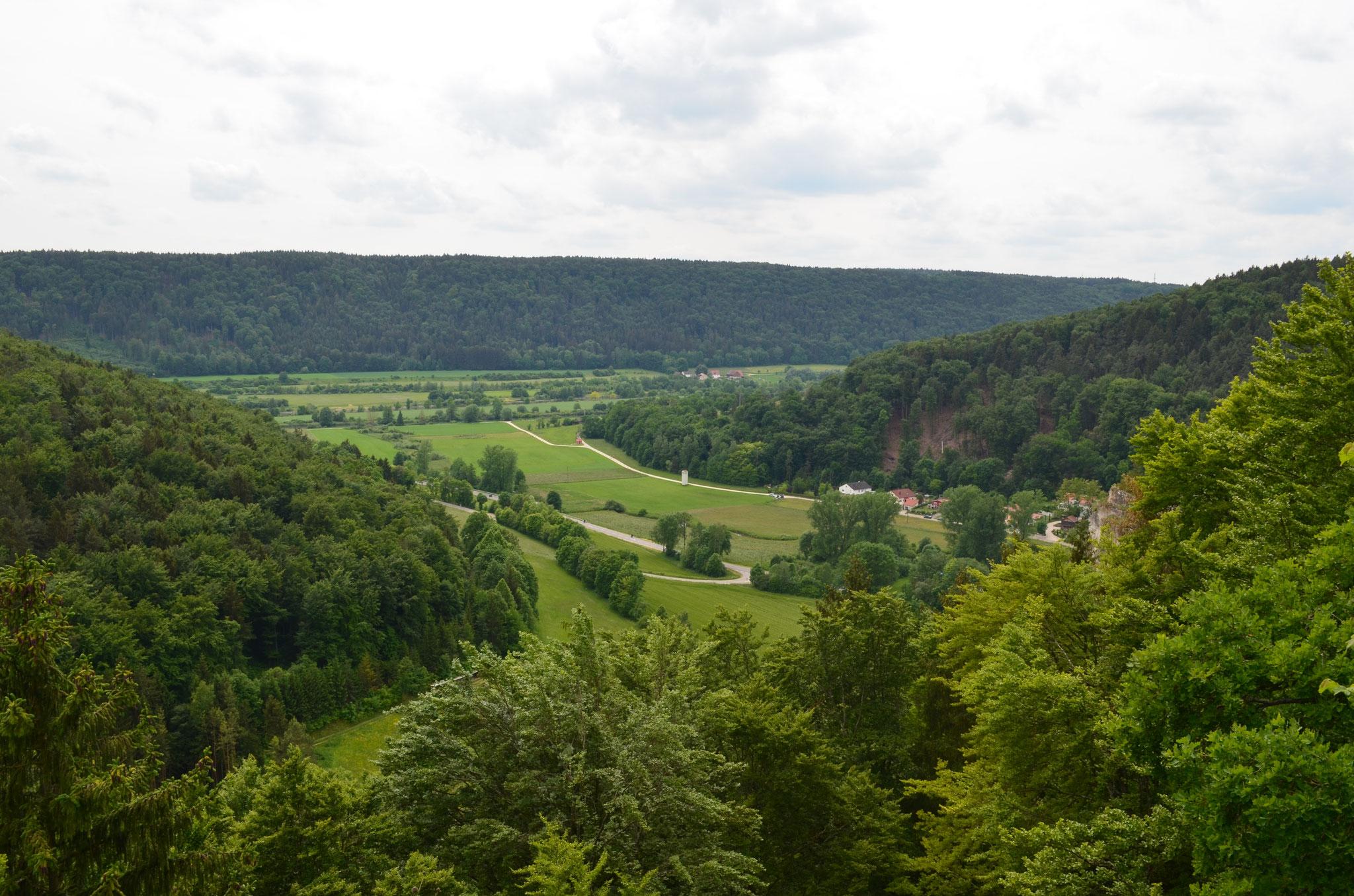 Sicht vom Kopffelsen in Mühlbach ins Altmühltal