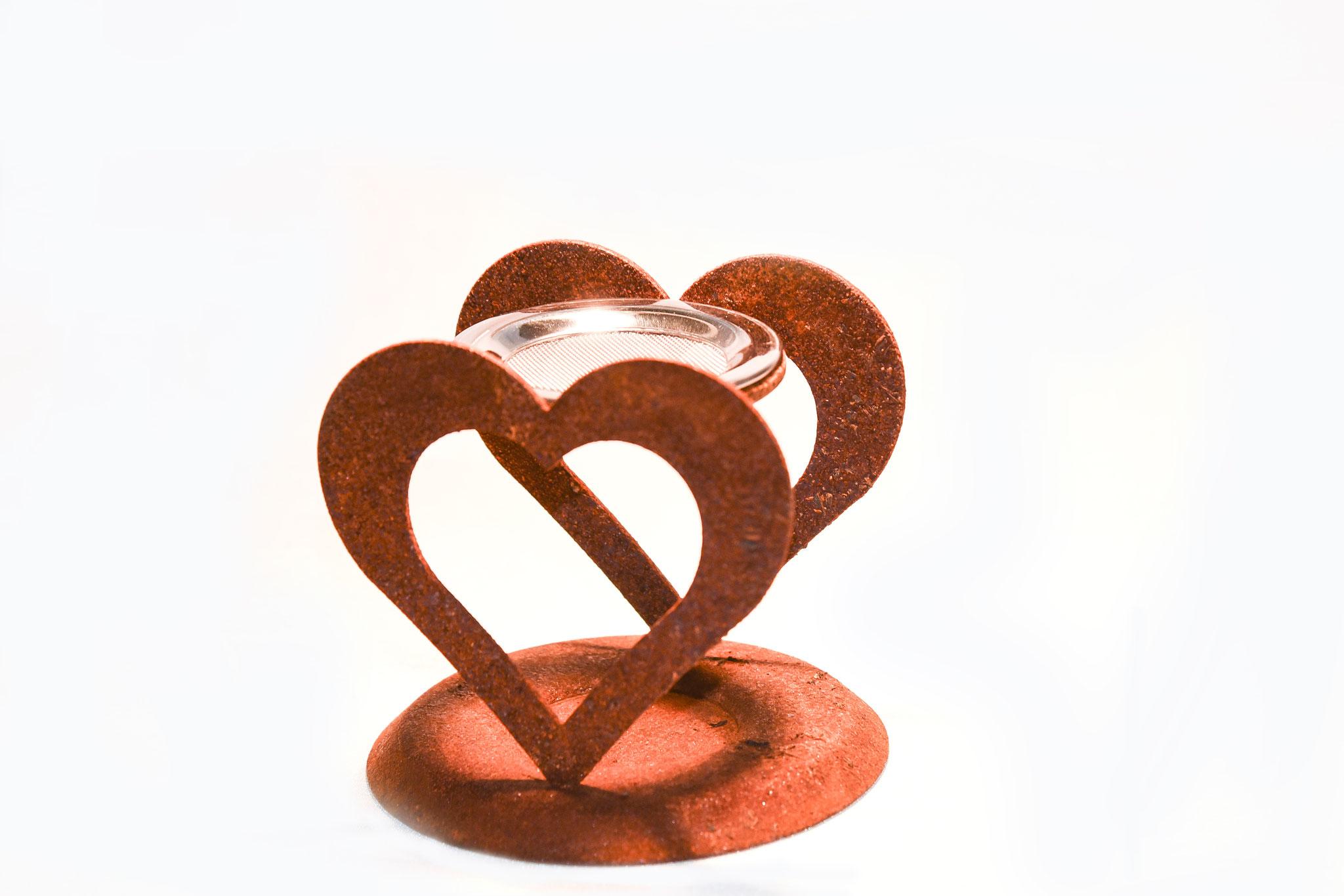 Räuchergefäß Herz Edelrost mit Glasschale