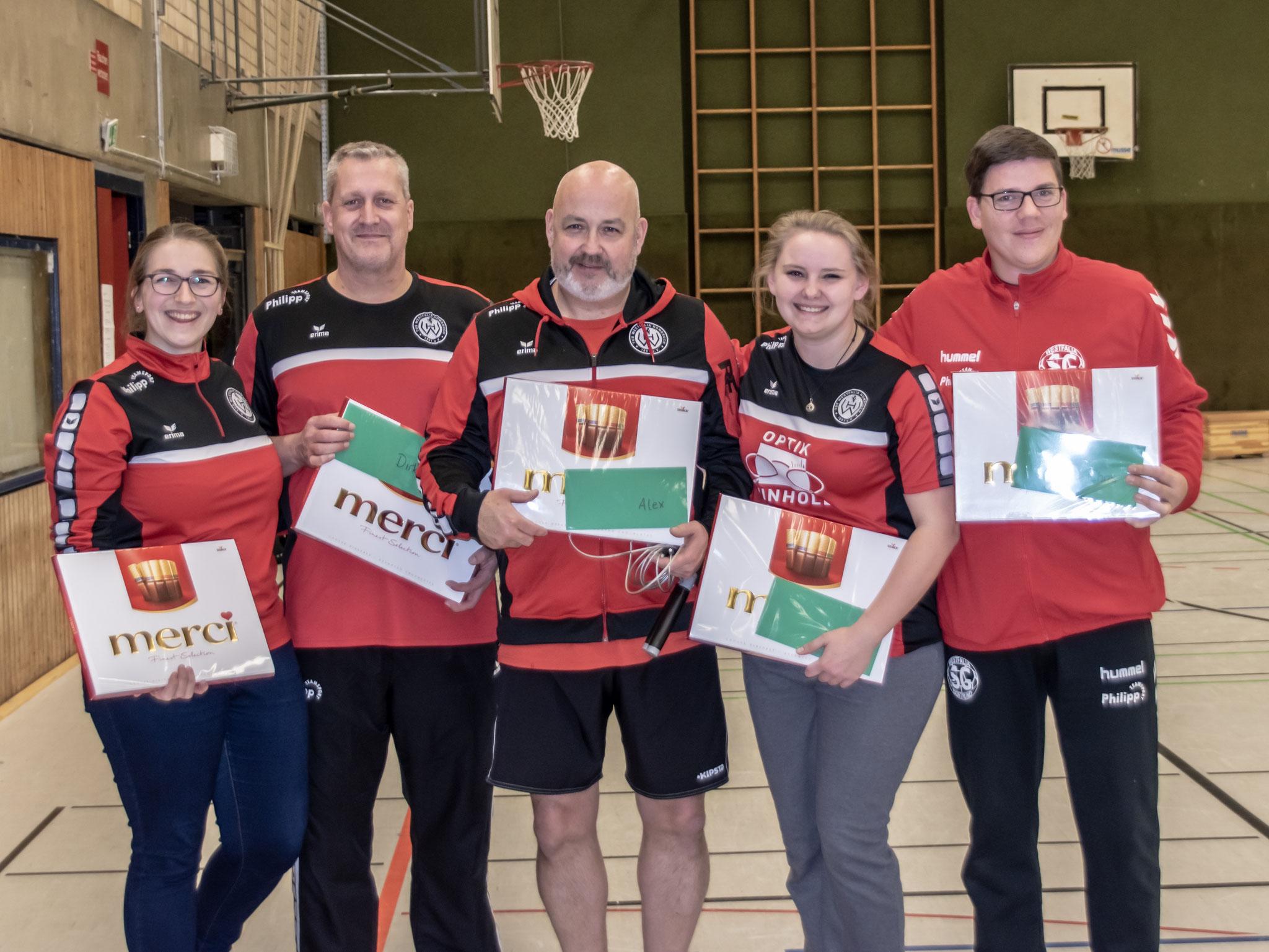 Unsere Jugendtrainer/innen Nikola Sondern (wB), Dirk Schmitz (mC), Alexander Schwenk (wB), Maike Theede (wC) und Christopher Koal (wD)